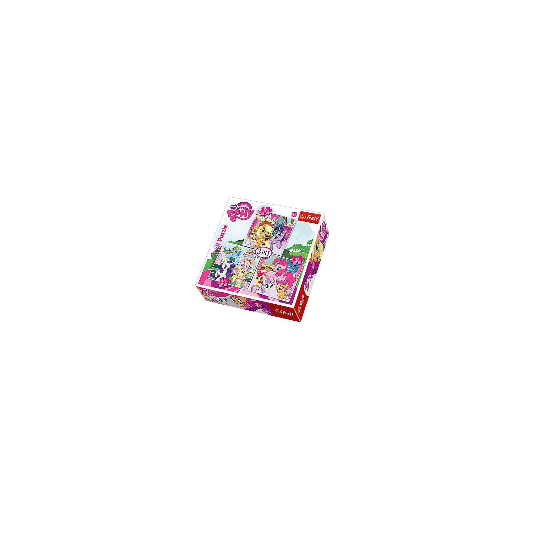 Набор пазлов 3 в 1 Моя маленькая Пони, 20*36*50 деталей, TreflКлассические пазлы<br>Характеристики товара:<br><br>• возраст от 4 лет;<br>• материал: картон;<br>• в наборе: 1 пазл на 20 деталей, 1 пазл на 36 деталей, 1 пазл на 50 деталей;<br>• размер упаковки 28х28х6,2 см;<br>• вес упаковки 570 г.;<br>• страна производитель Польша.<br><br>Набор пазлов 3 в 1 «Моя маленькая пони» Trefl создан по мотивам известного мультфильма «My Little Pony». В наборе 3 пазла о приключениях любимых персонажей. Собирая пазл, у ребенка развиваются логическое мышление, внимательность к деталям, усидчивость. Все элементы выполнены из качественных материалов со специальным стойким покрытием.<br><br>Набор пазлов 3 в 1 «Моя маленькая пони» Trefl можно приобрести в нашем интернет-магазине<br><br>Ширина мм: 280<br>Глубина мм: 280<br>Высота мм: 62<br>Вес г: 570<br>Возраст от месяцев: 48<br>Возраст до месяцев: 2147483647<br>Пол: Женский<br>Возраст: Детский<br>SKU: 5578455