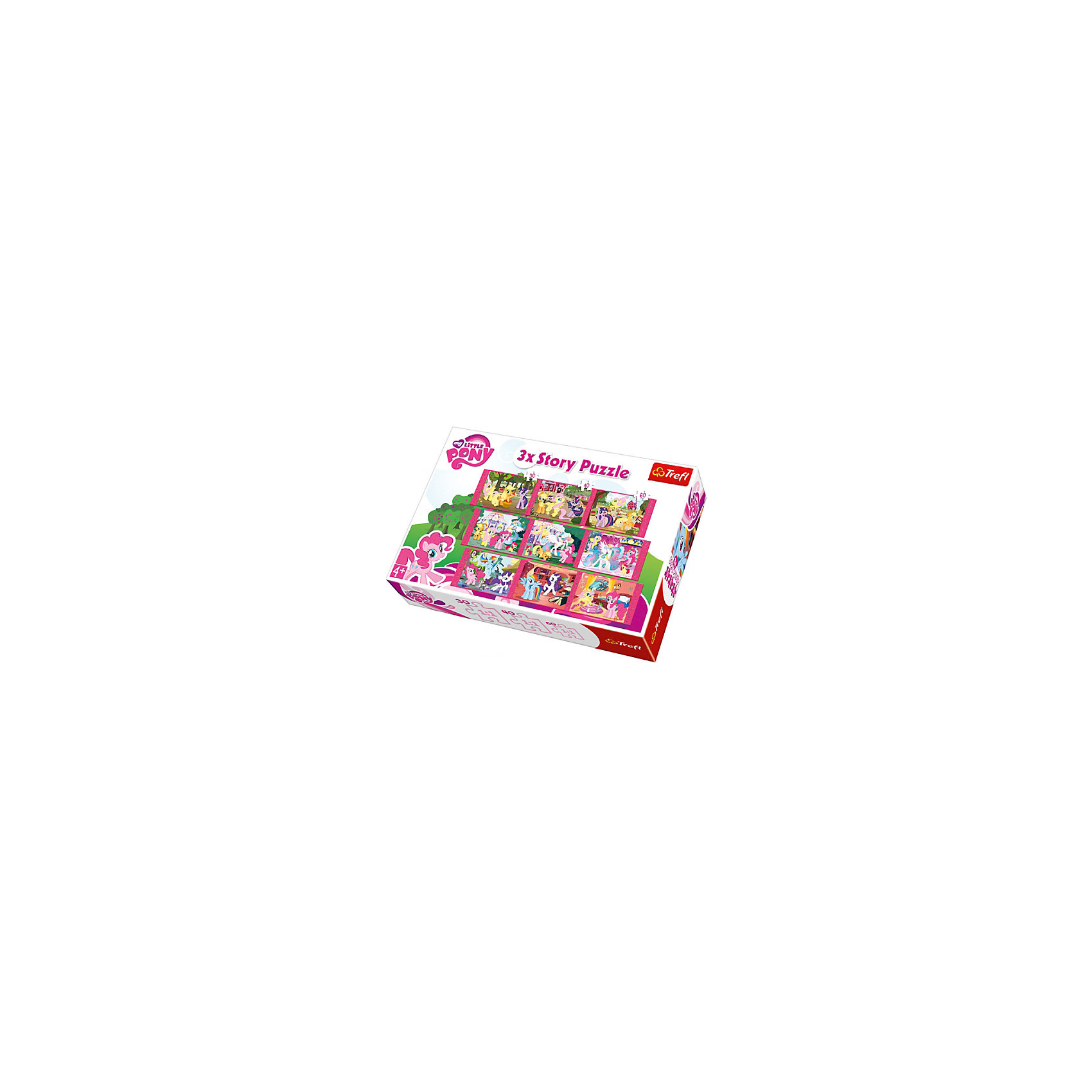 Набор пазлов 9 в 1 Моя маленькая Пони, TreflПазлы для малышей<br>Характеристики товара:<br><br>• возраст от 4 лет;<br>• материал: картон;<br>• в наборе: 1 пазл на 20 деталей, 1 пазл на 36 деталей, 1 пазл на 50 деталей;<br>• размер упаковки 26,6х39,8х9 см;<br>• вес упаковки 1,95 кг;<br>• страна производитель Польша.<br><br>Набор пазлов 9 в 1 «Моя маленькая пони» Trefl создан по мотивам известного мультфильма «My Little Pony». В наборе 9 пазлов о приключениях любимых персонажей. Собирая пазл, у ребенка развиваются логическое мышление, внимательность к деталям, усидчивость. Все элементы выполнены из качественных материалов со специальным стойким покрытием.<br><br>Набор пазлов 9 в 1 «Моя маленькая пони» Trefl можно приобрести в нашем интернет-магазине.<br><br>Ширина мм: 266<br>Глубина мм: 398<br>Высота мм: 90<br>Вес г: 1950<br>Возраст от месяцев: 48<br>Возраст до месяцев: 2147483647<br>Пол: Женский<br>Возраст: Детский<br>SKU: 5578456