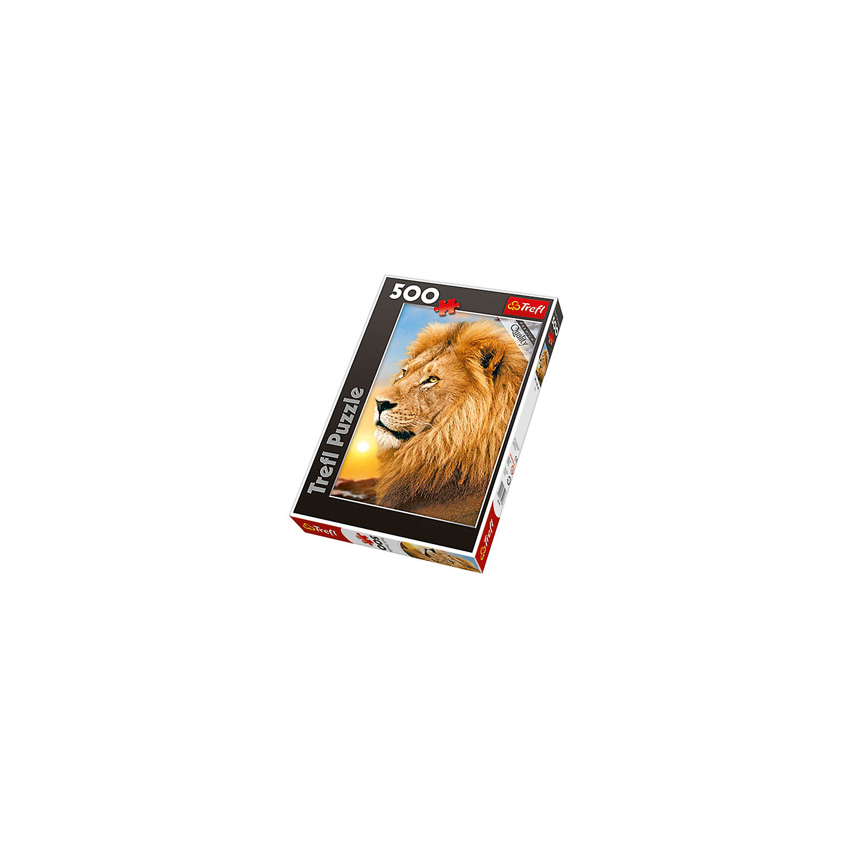 Пазл Лев, 500 деталей, TreflПазлы для детей постарше<br>Характеристики товара:<br><br>• возраст от 10 лет;<br>• материал: картон;<br>• в наборе: 500 элементов;<br>• размер пазла 48х34 см;<br>• размер упаковки 26,6х39,8х4,5 см;<br>• вес упаковки 500 гр.;<br>• страна производитель Польша.<br><br>Пазл «Лев» Trefl — пазл с изображением царя зверей Льва.  Собирая пазл, у ребенка развиваются логическое мышление, внимательность к деталям, усидчивость. Все элементы выполнены из качественного экологически чистого картона со специальным стойким покрытием.<br><br>Пазл «Лев» Trefl можно приобрести в нашем интернет-магазине.<br><br>Ширина мм: 266<br>Глубина мм: 398<br>Высота мм: 45<br>Вес г: 500<br>Возраст от месяцев: 120<br>Возраст до месяцев: 2147483647<br>Пол: Унисекс<br>Возраст: Детский<br>SKU: 5578457