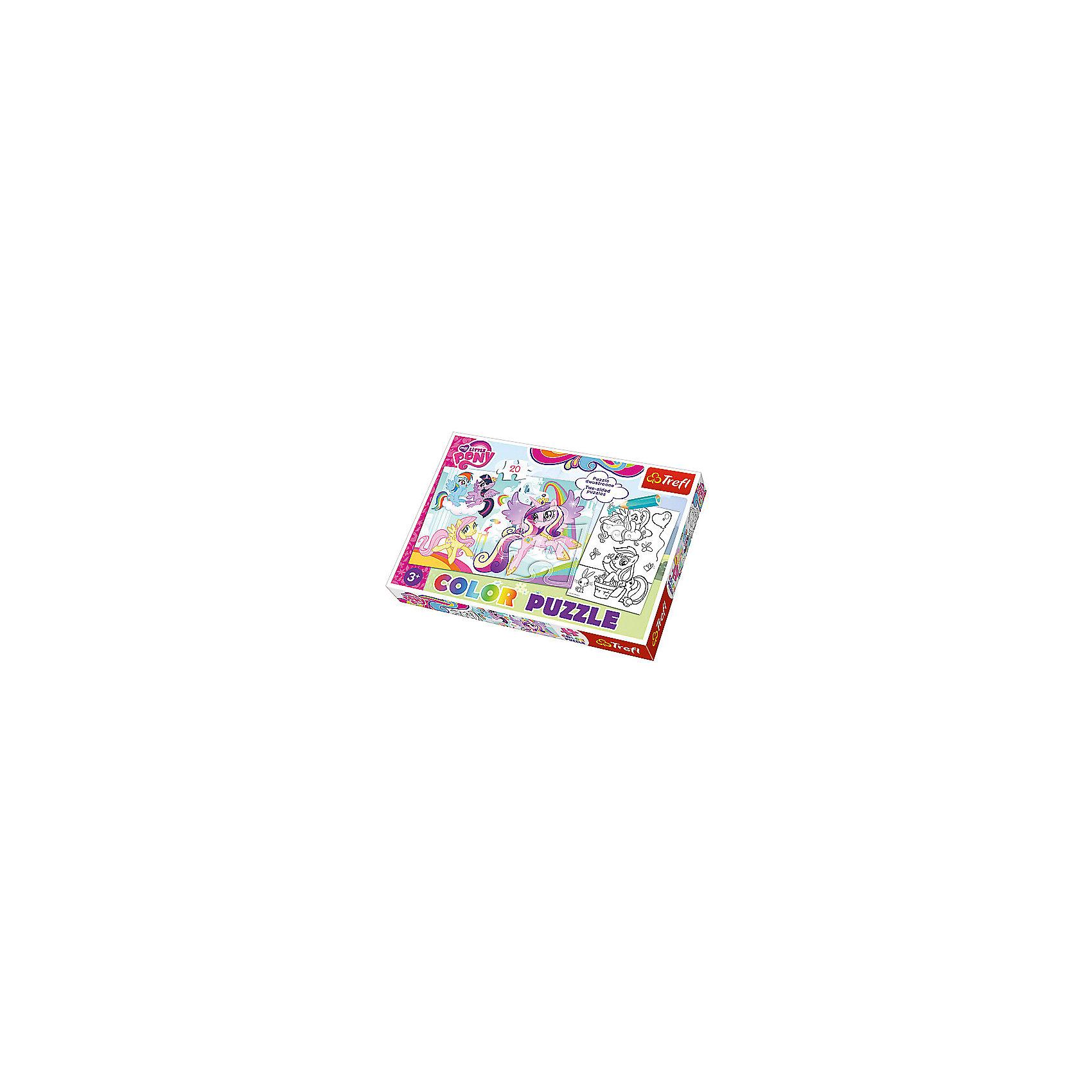 Пазл Колор «Мой маленький пони», 20 деталей, TreflКлассические пазлы<br>Характеристики товара:<br><br>• возраст от 3 лет;<br>• материал: картон;<br>• в наборе: 20 элементов;<br>• размер пазла 41х27,5 см;<br>• размер упаковки 33,5х23х4 см см;<br>• вес упаковки 200 гр.;<br>• страна производитель Польша.<br><br>Пазл Колор «Мой маленький пони» Trefl создан по мотивам известного мультсериала и обязательно понравится его поклоннице. Это необычный пазл, с одной стороны которого готовая картинка с персонажами, а с другой та же картинка, только ее надо раскрасить. Такое занятие увлечет девочку и позволит ей проявить свои творческие способности и фантазию.<br><br>Пазл Колор «Мой маленький пони» Trefl можно приобрести в нашем интернет-магазине.<br><br>Ширина мм: 350<br>Глубина мм: 470<br>Высота мм: 230<br>Вес г: 200<br>Возраст от месяцев: 36<br>Возраст до месяцев: 2147483647<br>Пол: Унисекс<br>Возраст: Детский<br>SKU: 5578470