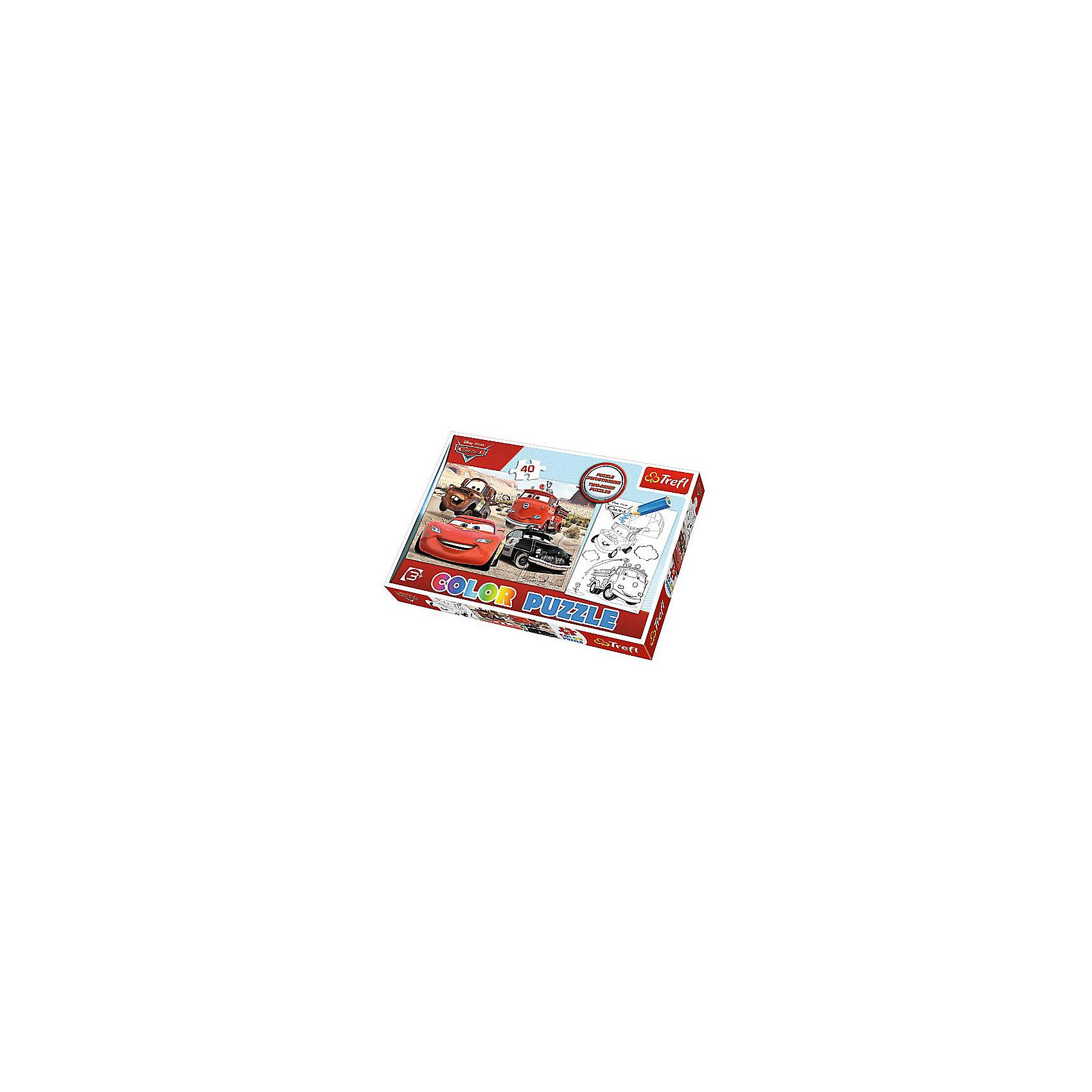 Пазл Колор «Тачки», 40 деталей, TreflПазлы для малышей<br>Характеристики товара:<br><br>• возраст от 3 лет;<br>• материал: картон;<br>• в наборе: 40 элементов;<br>• размер пазла 41х27,5 см;<br>• размер упаковки 33,5х23х4 см см;<br>• вес упаковки 200 гр.;<br>• страна производитель Польша.<br><br>Пазл Колор «Тачки» Trefl создан по мотивам известного мультфильма «Тачки». С одной стороны пазла изображены любимые персонажи, а с другой стороны черно-белая картинка, которую надо раскрасить. Такое занятие увлечет малышей и позволит им проявить свои творческие способности и фантазию.<br><br>Пазл Колор «Тачки» Trefl можно приобрести в нашем интернет-магазине.<br><br>Ширина мм: 350<br>Глубина мм: 470<br>Высота мм: 230<br>Вес г: 200<br>Возраст от месяцев: 36<br>Возраст до месяцев: 2147483647<br>Пол: Мужской<br>Возраст: Детский<br>SKU: 5578471