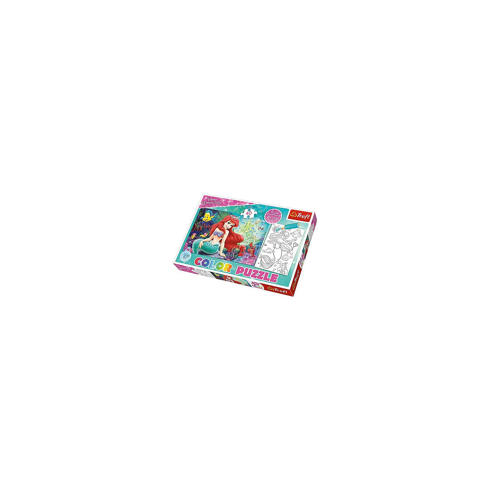 Пазл Колор «Подводное королевство», 40 деталей, TreflКлассические пазлы<br>Характеристики товара:<br><br>• возраст от 3 лет;<br>• материал: картон;<br>• в наборе: 40 элементов;<br>• размер пазла 41х27,5 см;<br>• размер упаковки 33,5х23х4 см см;<br>• вес упаковки 200 гр.;<br>• страна производитель Польша.<br><br>Пазл Колор «Подводное королевство» Trefl создан по мотивам известного мультфильма про Русалочку Ариэль. С одной стороны пазла изображены любимые персонажи, а с другой стороны черно-белая картинка, которую надо раскрасить. Такое занятие увлечет малышей и позволит им проявить свои творческие способности и фантазию. Все детали пазла изготовлены из качественных материалов, которые не теряют со временем цвет.<br><br>Пазл Колор «Подводное королевство» Trefl можно приобрести в нашем интернет-магазине.<br><br>Ширина мм: 350<br>Глубина мм: 470<br>Высота мм: 230<br>Вес г: 200<br>Возраст от месяцев: 36<br>Возраст до месяцев: 2147483647<br>Пол: Унисекс<br>Возраст: Детский<br>SKU: 5578472