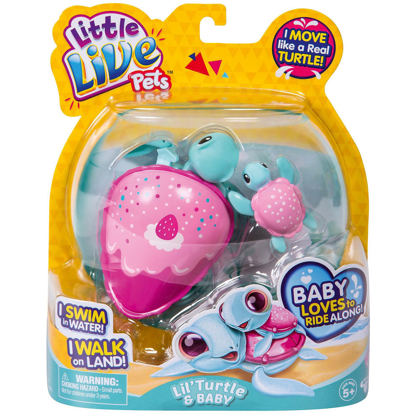 Интерктивная черепашка с малышом Strawberry, Little Live Pets, MooseИнтерактивные животные<br>Характеристики товара:<br><br>• возраст от 5 лет;<br>• материал: пластик;<br>• в наборе: 2 черепашки;<br>• работает от 1 батарейки ААА (в комплект не входит);<br>• размер упаковки 22х18х5 см;<br>• вес упаковки 176 гр.;<br>• страна производитель Китай.<br><br>Интерактивная черепашка с малышом Strawberry «Little Live Pets» Moose — забавная черепашка для малышей, которую можно взять с собой в ванную и весело провести время во время купания. Розовый панцирь черепашки украшен изображением клубники. Черепашка умеет плавать, достаточно просто запустить ее в воду. Ее малыш крепится на спинку мамы при помощи присоски и плывет вместе с ней. Черепашка умеет не только передвигаться по воде, но и по суше. А также она забавно качает головой. Игрушка изготовлена из качественного безвредного пластика.<br><br>Интерактивную черепашку с малышом Strawberry «Little Live Pets» Moose можно приобрести в нашем интернет-магазине.<br><br>Ширина мм: 180<br>Глубина мм: 50<br>Высота мм: 220<br>Вес г: 176<br>Возраст от месяцев: 60<br>Возраст до месяцев: 2147483647<br>Пол: Унисекс<br>Возраст: Детский<br>SKU: 5578476