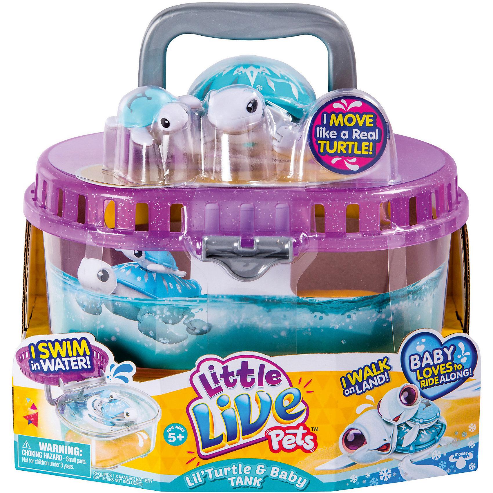 Черепашка с малышом в аквариуме, Little Live Pets, MooseИнтерактивные животные<br>Характеристики товара:<br><br>• возраст от 5 лет;<br>• материал: пластик;<br>• в наборе: 2 черепашки, аквариум;<br>• работает от 1 батарейки ААА (в комплект не входит);<br>• размер аквариума 20,5х23,5х18 см;<br>• размер упаковки 23,5х20,5х18 см;<br>• вес упаковки 67 гр.;<br>• страна производитель Китай.<br><br>Черепашка с малышом в аквариуме Little Live Pets Moose — увлекательная забавная игрушка, которая сделает купание малыша веселым. У черепашки яркий панцирь, украшенный узорами. Черепашка умеет плавать, двигаться по суше, кивать головой. Ее детеныш крепится на панцирь мамы при помощи присоски. В комплекте удобный чемоданчик с ручками и песчаным дном, который может служить аквариумом для черепашки или переноской, если ребенок захочет взять с собой игрушку на прогулку или в гости. Игрушка изготовлена из качественного безвредного пластика.<br><br>Черепашку с малышом в аквариуме Little Live Pets Moose можно приобрести в нашем интернет-магазине.<br><br>Ширина мм: 235<br>Глубина мм: 180<br>Высота мм: 205<br>Вес г: 67<br>Возраст от месяцев: 60<br>Возраст до месяцев: 2147483647<br>Пол: Унисекс<br>Возраст: Детский<br>SKU: 5578478