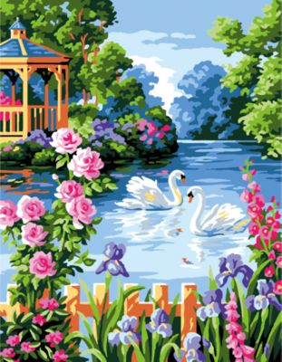 TUKZAR Роспись по номерам Лебеди , 40*50 см