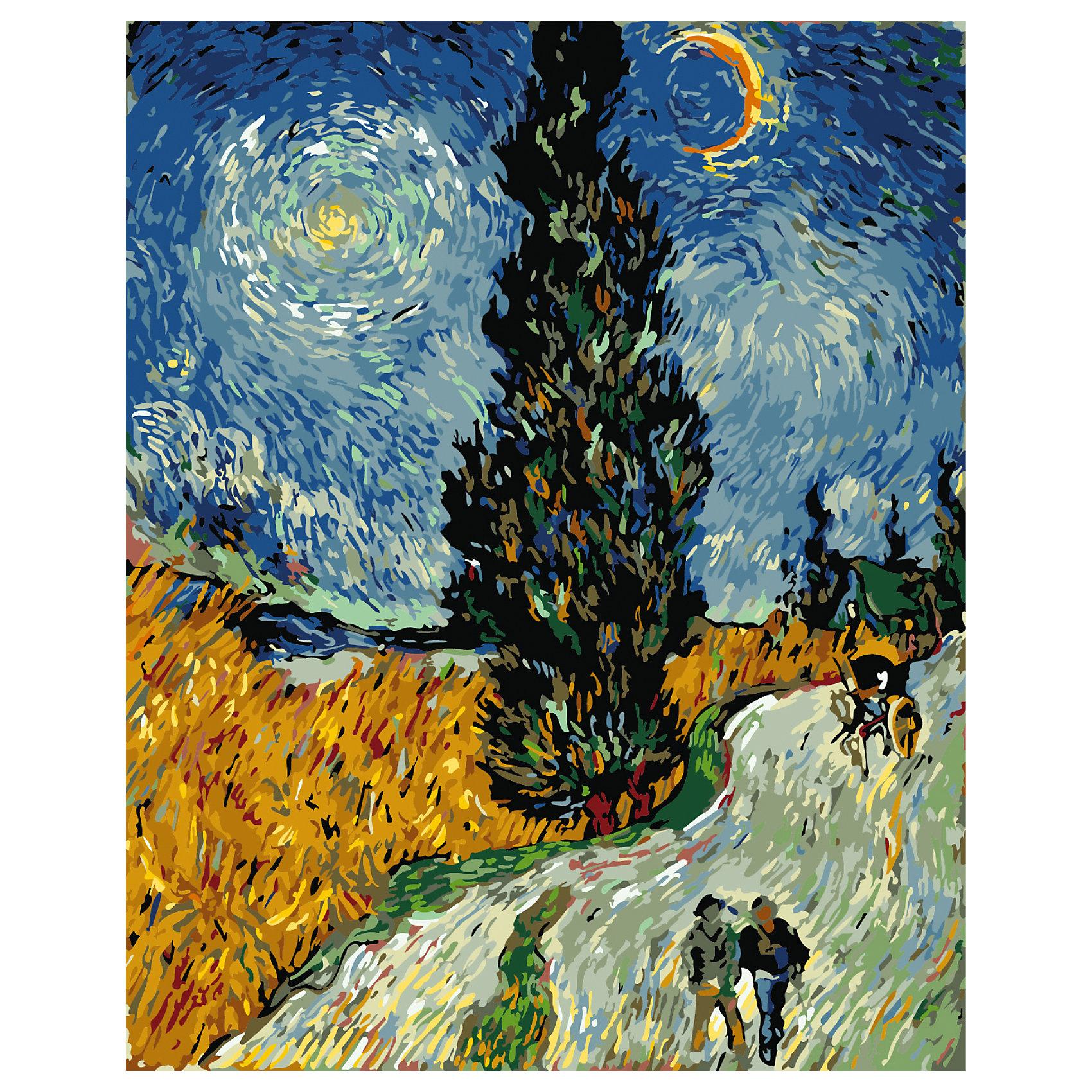 Роспись по номерам Кипарисы на фоне звездного неба Ван Гог, 40*50 смРаскраски по номерам<br>Характеристики:<br><br>• Предназначение: для занятий художественным творчеством <br>• Тематика: Природа<br>• Уровень сложности: средний<br>• Материал: дерево, бумага, акрил, пластик<br>• Комплектация: холст на подрамнике, кисти – 3 шт., акриловые краски, крепеж для картины, инструкция<br>• Размеры готовой картины (Ш*В): 50*40 см<br>• Размеры (Д*Ш*В): 42*52*2,5 см<br>• Вес: 500 г <br>• Упаковка: картонная коробка<br><br>Роспись по номерам Кипарисы на фоне звездного неба Ван Гог, 40*50 см – это набор для росписи картины акриловыми красками. Набор для творчества состоит из холста, натянутого на подрамник. На холст нанесен принт с контурами элементов и указанием номера красок. В наборе предусмотрены кисточки, акриловые краски и держатель для картины. Уникальность набора заключается в том, что для получения необходимого оттенка краски смешивать не нужно, так как все оттенки предусмотрены в комплектации. На схему нанесено изображение по мотивам картин Ван Гога.<br><br>Роспись по номерам Кипарисы на фоне звездного неба Ван Гог, 40*50 см можно купить в нашем интернет-магазине.<br><br>Ширина мм: 420<br>Глубина мм: 520<br>Высота мм: 25<br>Вес г: 500<br>Возраст от месяцев: 36<br>Возраст до месяцев: 2147483647<br>Пол: Унисекс<br>Возраст: Детский<br>SKU: 5579738