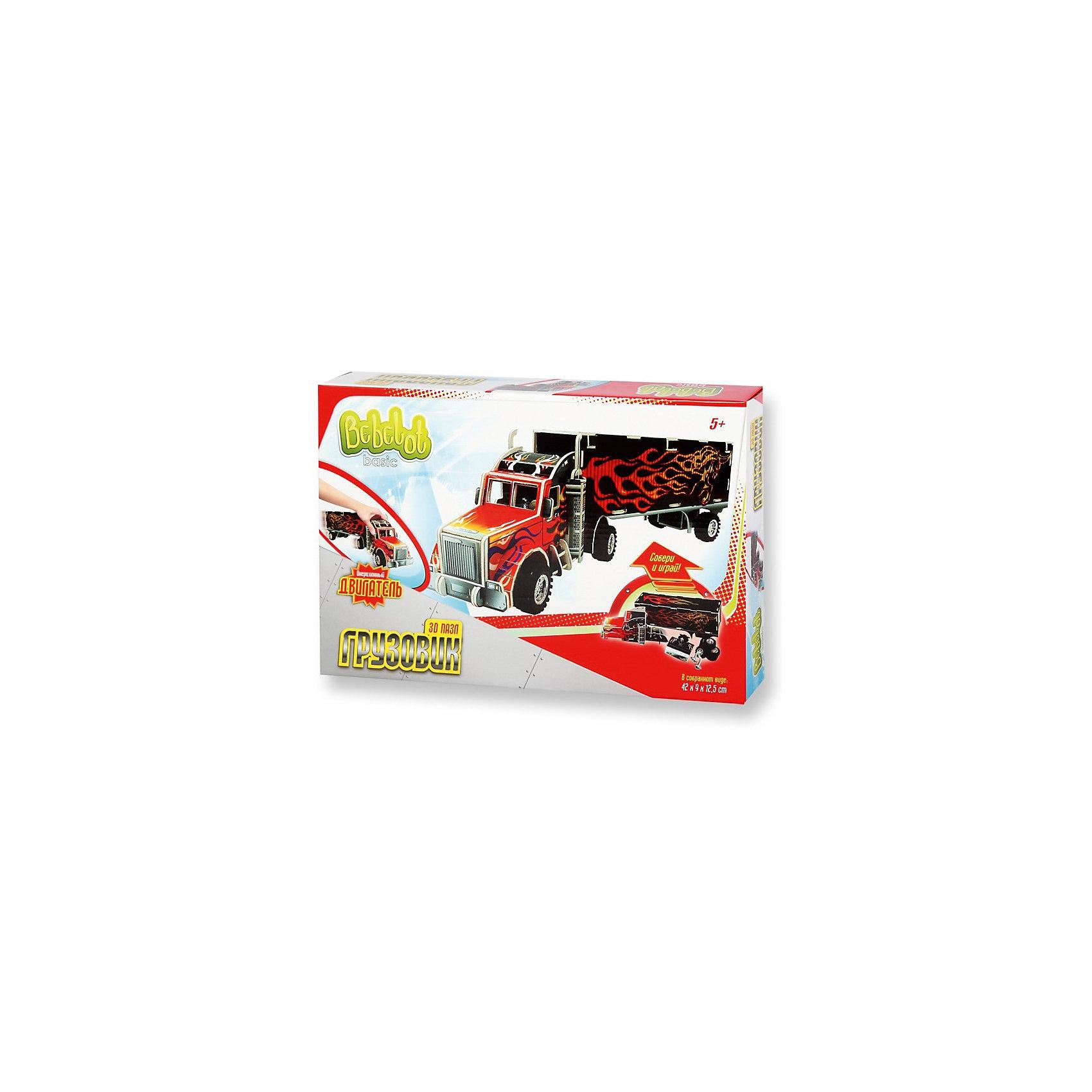 3D пазл Basic Грузовик большой, Bebelot3D пазлы<br>Характеристики товара:<br><br>• возраст от 3 лет;<br>• материал: пластик, картон, металл;<br>• в наборе: 4 листа пенокартона, 6 колес, 3 оси, двигатель, инструкция;<br>• размер машины 42х12,5х9 см;<br>• размер упаковки 33х22х5 см;<br>• вес упаковки 330 гр.;<br>• страна производитель: Китай.<br><br>3D пазл Basic «Грузовик большой» Bebelot позволит создать объемную модель грузовика. Грузовик работает от инерционного двигателя, может ездить по поверхности. С ним можно играть, как с обычной машинкой. Сборка пазла развивает у детей мышление, усидчивость, внимательность.<br><br>3D пазл Basic «Грузовик большой» Bebelot можно приобрести в нашем интернет-магазине.<br><br>Ширина мм: 330<br>Глубина мм: 220<br>Высота мм: 50<br>Вес г: 330<br>Возраст от месяцев: 36<br>Возраст до месяцев: 72<br>Пол: Мужской<br>Возраст: Детский<br>SKU: 5581214