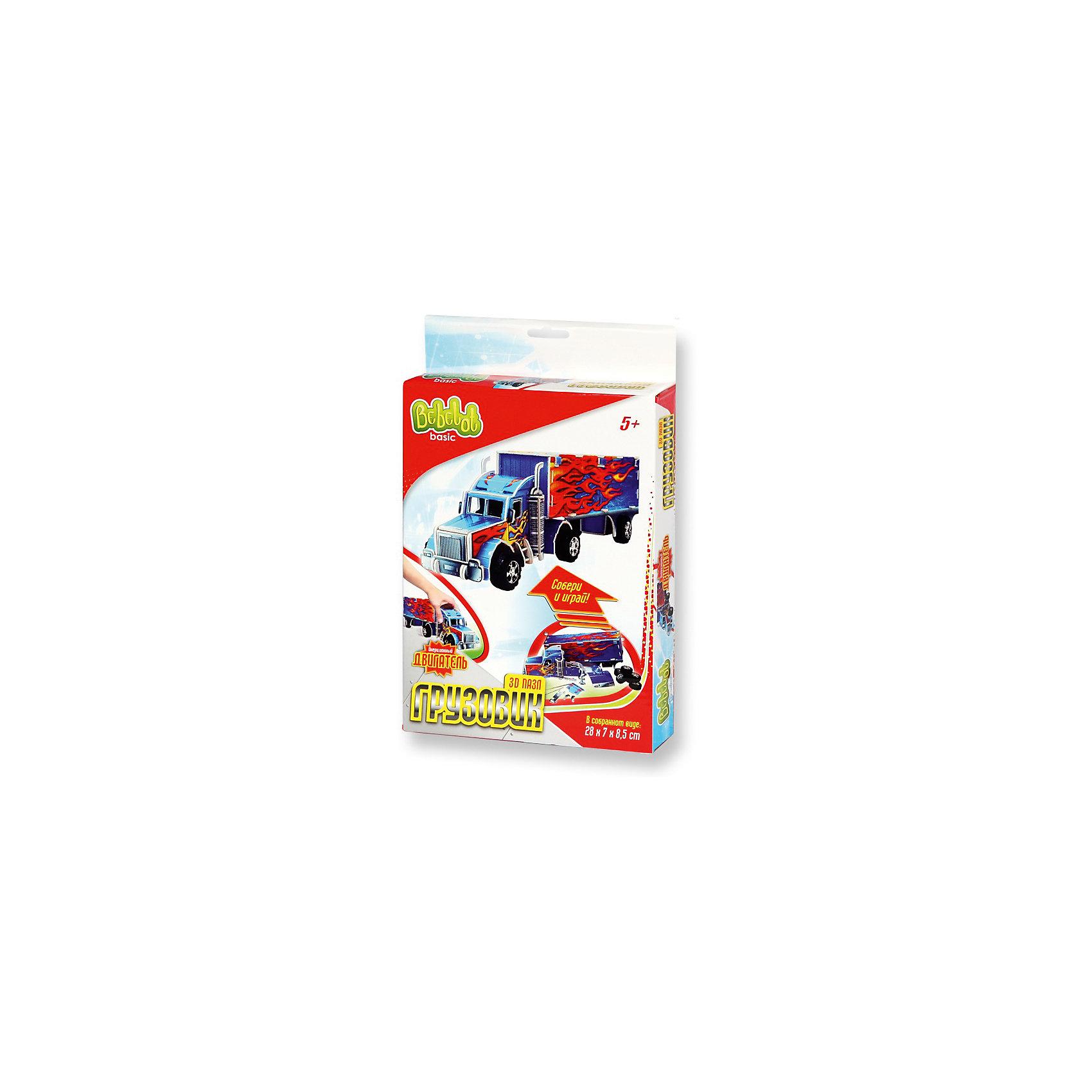 3D пазл Basic Грузовик маленький, Bebelot3D пазлы<br>Характеристики товара:<br><br>• возраст от 3 лет;<br>• материал: пластик, картон, металл;<br>• в наборе: 4 листа пенокартона, 4 колеса, 2 оси, двигатель, инструкция;<br>• размер упаковки 25х15х3 см;<br>• вес упаковки 160 гр.;<br>• страна производитель: Китай.<br><br>3D пазл Basic «Грузовик маленький» Bebelot позволит создать объемную модель грузовика. Грузовик работает от инерционного двигателя, может ездить по поверхности. С ним можно играть, как с обычной машинкой. Сборка пазла развивает у детей мышление, усидчивость, внимательность.<br><br>3D пазл Basic «Грузовик маленький» Bebelot можно приобрести в нашем интернет-магазине.<br><br>Ширина мм: 150<br>Глубина мм: 250<br>Высота мм: 30<br>Вес г: 160<br>Возраст от месяцев: 36<br>Возраст до месяцев: 72<br>Пол: Мужской<br>Возраст: Детский<br>SKU: 5581221