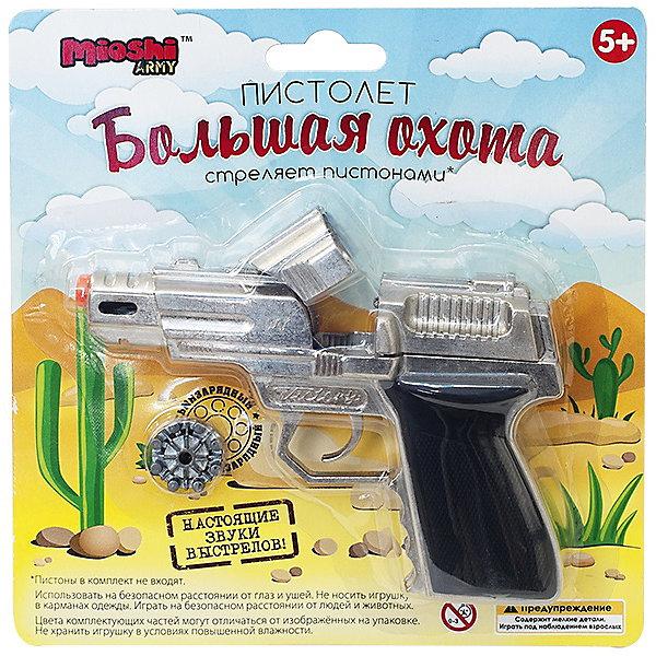 Пистолет Большая охота, Mioshi ArmyИгрушечное оружие<br>Характеристики товара:<br><br>• возраст от 6 лет;<br>• материал: металл;<br>• длина пистолета 13 см;<br>• размер упаковки 18,8х18,3х5 см;<br>• вес упаковки 197 гр.;<br>• страна производитель: Китай.<br><br>Пистолет «Большая охота» Mioshi Army выглядит как самый настоящий пистолет, а также издает звук выстрела. С ним мальчишки могут поиграть в шпионов, полицейских или военных. Игрушка изготовлена из качественного материала, корпус и барабан выполнены из металла.<br><br>Пистолет «Большая охота» Mioshi Army можно приобрести в нашем интернет-магазине.<br><br>Ширина мм: 188<br>Глубина мм: 183<br>Высота мм: 50<br>Вес г: 197<br>Возраст от месяцев: 72<br>Возраст до месяцев: 2147483647<br>Пол: Мужской<br>Возраст: Детский<br>SKU: 5581224