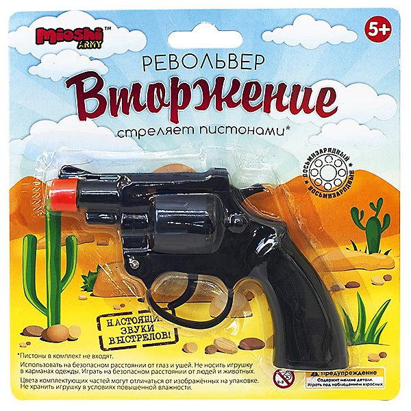 Револьвер Вторжение, 13 см, Mioshi ArmyИгрушечные пистолеты и бластеры<br>Характеристики товара:<br><br>• возраст от 6 лет;<br>• материал: металл, пластик;<br>• длина револьвера 13 см;<br>• размер упаковки 18х18,7х4 см;<br>• вес упаковки 78 гр.;<br>• страна производитель: Китай.<br><br>Револьвер «Вторжение» Mioshi Army обязательно понравится мальчику и позволит ему почувствовать себя настоящим шерифом или полицейским. Он выглядит как самый настоящий пистолет, а также издает звук выстрела. Игрушка изготовлена из качественного прочного пластика, внутри барабана металлическое кольцо.<br><br>Револьвер «Вторжение» Mioshi Army можно приобрести в нашем интернет-магазине.<br>Ширина мм: 187; Глубина мм: 183; Высота мм: 40; Вес г: 78; Возраст от месяцев: 72; Возраст до месяцев: 2147483647; Пол: Мужской; Возраст: Детский; SKU: 5581226;