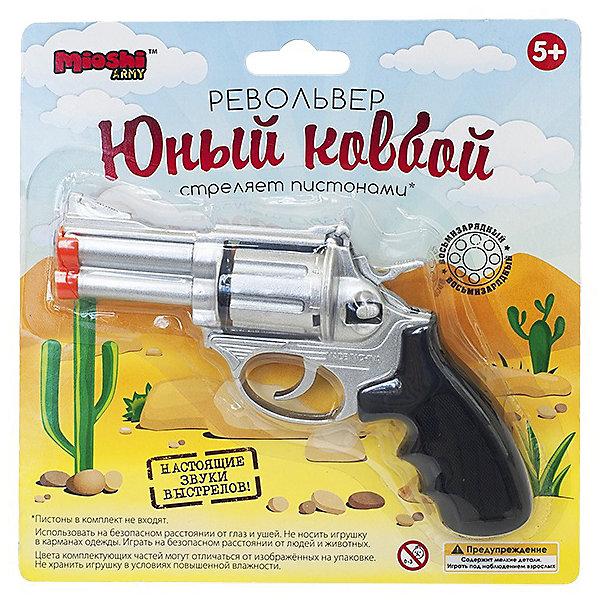 Револьвер Юный ковбой, 15 см, Mioshi ArmyИгрушечные пистолеты и бластеры<br>Характеристики товара:<br><br>• возраст от 6 лет;<br>• материал: металл;<br>• длина револьвера 15 см;<br>• размер упаковки 19,1х18,6х5 см;<br>• вес упаковки 200 гр.;<br>• страна производитель: Китай.<br><br>Револьвер «Юный ковбой» Mioshi Army обязательно понравится мальчику и позволит ему устраивать сюжеты для игры, выступая в роли ковбоя на Диком Западе. Он выглядит как самый настоящий пистолет, а также издает звук выстрела. Игрушка изготовлена из качественного прочного металла и безопасна для детей.<br><br>Револьвер «Юный ковбой» Mioshi Army можно приобрести в нашем интернет-магазине.<br><br>Ширина мм: 191<br>Глубина мм: 186<br>Высота мм: 50<br>Вес г: 200<br>Возраст от месяцев: 72<br>Возраст до месяцев: 2147483647<br>Пол: Мужской<br>Возраст: Детский<br>SKU: 5581230