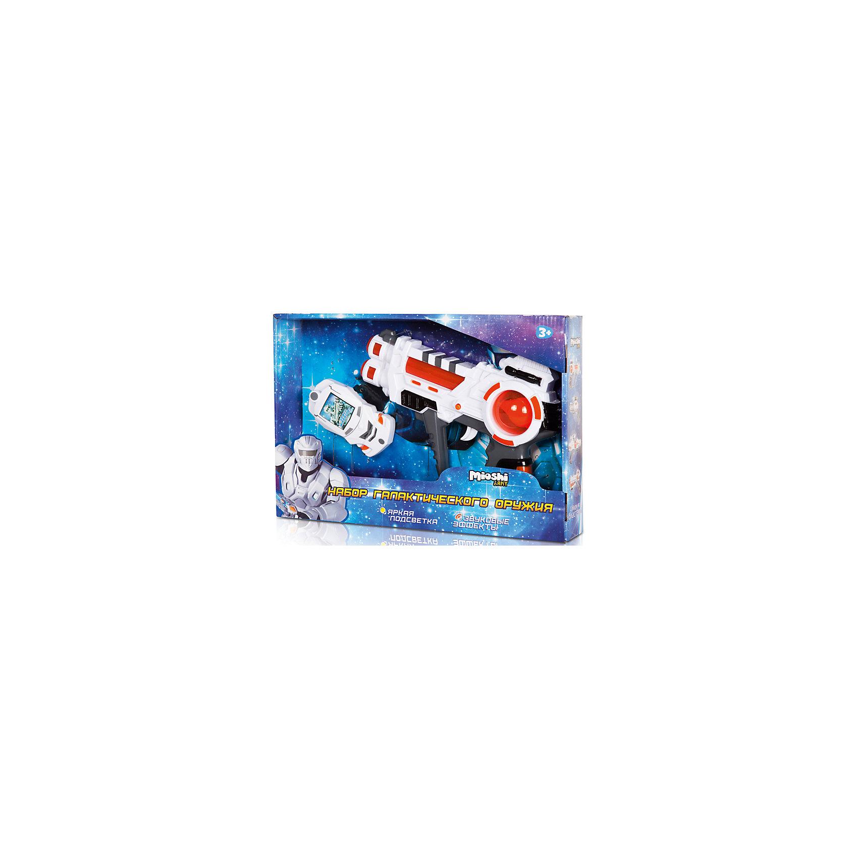 Игровой набор Освободитель, Mioshi ArmyБластеры, пистолеты и прочее<br>Характеристики товара:<br><br>• возраст от 3 лет;<br>• материал: пластик;<br>• в комплекте: бластер, передатчик;<br>• работает от 3 батареек АА (в комплект не входят);<br>• размер упаковки 33х22х5,5 см;<br>• вес упаковки 229 гр.;<br>• страна производитель: Китай.<br><br>Игровой набор «Освободитель» Mioshi Army позволит мальчишкам отправится в космические приключения для освобождения Вселенной от захватчиков. Бластер оснащен световыми и звуковыми эффектами, которые делают игру еще увлекательней. <br><br>Игровой набор «Освободитель» Mioshi Army можно приобрести в нашем интернет-магазине.<br><br>Ширина мм: 330<br>Глубина мм: 220<br>Высота мм: 55<br>Вес г: 229<br>Возраст от месяцев: 36<br>Возраст до месяцев: 72<br>Пол: Мужской<br>Возраст: Детский<br>SKU: 5581234