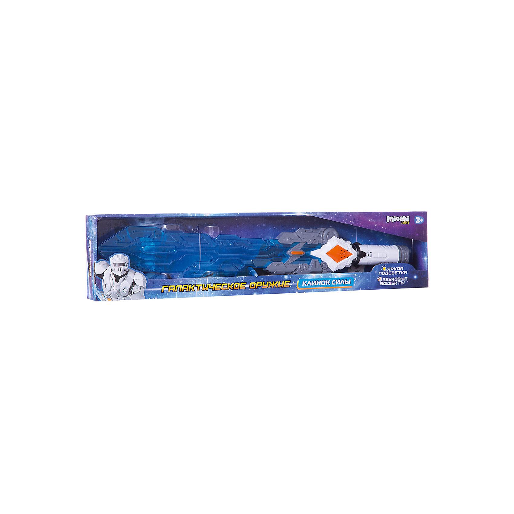Меч Клинок силы, Mioshi ArmyБластеры, пистолеты и прочее<br>Характеристики товара:<br><br>• возраст от 3 лет;<br>• материал: пластик;<br>• в комплекте: меч, батарейки;<br>• работает от 2 батареек АА (в комплекте);<br>• размер упаковки 65х14х9 см;<br>• вес упаковки 323 гр.;<br>• страна производитель: Китай.<br><br>Меч «Клинок силы» Mioshi Army позволит мальчишкам устроить импровизированные космические сражения. Во время игры меч светится, что делает игру еще увлекательней. При взмахе меча слышен звук удара. Игрушка изготовлена из качественных прочных материалов, безопасных для детей.<br><br>Меч «Клинок силы» Mioshi Army можно приобрести в нашем интернет-магазине.<br><br>Ширина мм: 650<br>Глубина мм: 140<br>Высота мм: 90<br>Вес г: 323<br>Возраст от месяцев: 36<br>Возраст до месяцев: 72<br>Пол: Мужской<br>Возраст: Детский<br>SKU: 5581241