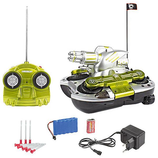 Танк-амфибия на р/у Стрела-24, Mioshi ArmyРадиоуправляемые катера<br>Характеристики товара:<br><br>• возраст от 8 лет;<br>• материал: пластик;<br>• в комплекте: танк, пульт управления, антенна, зарядное устройство, батарейки, 8 стрел-присосок;<br>• размер игрушки 24 см;<br>• размер упаковки 36х25х18 см;<br>• вес упаковки 3,1 кг;<br>• страна производитель: Китай.<br><br>Танк-амфибия «Стрела-24» Mioshi Active — увлекательная игрушка на радиоуправлении для мальчишек, которые любят устраивать сражения и бои. Танк-амфибия перемещается не только по суше, но и может плыть по воде. Его башня вращается на 360 градусов и стреляет снарядами. Танк развивает скорость до 10 км/час. Игрушка оснащена световыми эффектами, что сделает игру еще увлекательней и веселей. Танк изготовлен из качественных прочных материалов.<br><br>Танк-амфибию «Стрела-24» Mioshi Active можно приобрести в нашем интернет-магазине.<br><br>Ширина мм: 360<br>Глубина мм: 250<br>Высота мм: 180<br>Вес г: 3100<br>Возраст от месяцев: 96<br>Возраст до месяцев: 2147483647<br>Пол: Унисекс<br>Возраст: Детский<br>SKU: 5581249