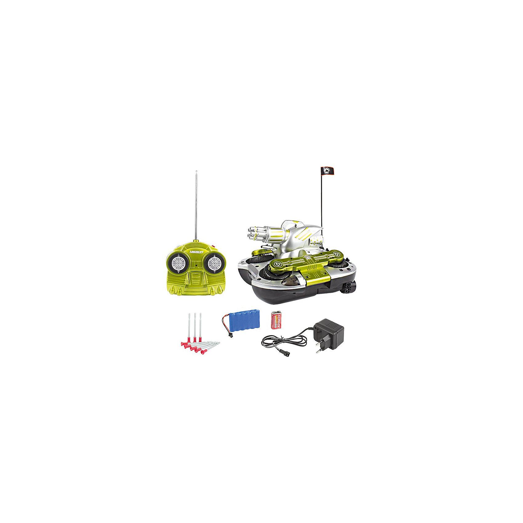 Танк-амфибия на р/у Стрела-24, Mioshi ArmyИдеи подарков<br>Характеристики товара:<br><br>• возраст от 8 лет;<br>• материал: пластик;<br>• в комплекте: танк, пульт управления, антенна, зарядное устройство, батарейки, 8 стрел-присосок;<br>• размер игрушки 24 см;<br>• размер упаковки 36х25х18 см;<br>• вес упаковки 3,1 кг;<br>• страна производитель: Китай.<br><br>Танк-амфибия «Стрела-24» Mioshi Active — увлекательная игрушка на радиоуправлении для мальчишек, которые любят устраивать сражения и бои. Танк-амфибия перемещается не только по суше, но и может плыть по воде. Его башня вращается на 360 градусов и стреляет снарядами. Танк развивает скорость до 10 км/час. Игрушка оснащена световыми эффектами, что сделает игру еще увлекательней и веселей. Танк изготовлен из качественных прочных материалов.<br><br>Танк-амфибию «Стрела-24» Mioshi Active можно приобрести в нашем интернет-магазине.<br><br>Ширина мм: 360<br>Глубина мм: 250<br>Высота мм: 180<br>Вес г: 3100<br>Возраст от месяцев: 96<br>Возраст до месяцев: 2147483647<br>Пол: Унисекс<br>Возраст: Детский<br>SKU: 5581249