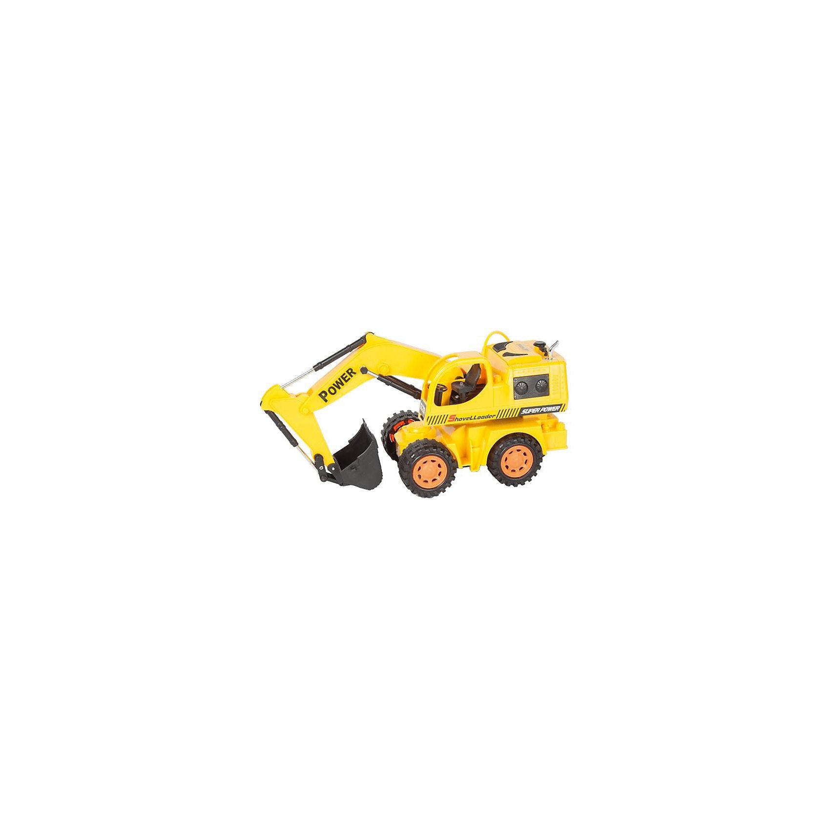 Экскаватор колёсный на р/у строительный, Mioshi TechИдеи подарков<br>Характеристики товара:<br><br>• возраст от 6 лет;<br>• материал: пластик;<br>• в комплекте: экскаватор, пульт, зарядное устройство, 2 батарейки АА для пульта, 4 аккумуляторных батарейки для игрушки;<br>• длина игрушки 29,6 см;<br>• размер упаковки 34,5х15х17,5 см;<br>• вес упаковки 841 гр.;<br>• страна производитель: Китай.<br><br>Экскаватор колесный строительный Mioshi Tech — радиоуправляемая игрушка, которая умеет ездить во всех направлениях, поворачивать, а также выполнять трюки при нажатии специальных кнопок. Ковш экскаватора опускается и поднимается, изображая настоящие строительные работы. Игрушка оснащена световыми эффектами, делающими игру еще увлекательней. Экскаватор изготовлен из качественного прочного пластика.<br><br>Экскаватор колесный строительный Mioshi Tech можно приобрести в нашем интернет-магазине.<br><br>Ширина мм: 345<br>Глубина мм: 150<br>Высота мм: 175<br>Вес г: 841<br>Возраст от месяцев: 72<br>Возраст до месяцев: 2147483647<br>Пол: Мужской<br>Возраст: Детский<br>SKU: 5581254