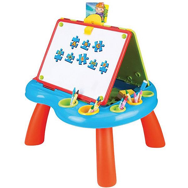 Развивающий набор Маленький художник, AltactoИдеи подарков<br>Характеристики товара:<br><br>• возраст от 3 лет;<br>• материал: пластик;<br>• в комплекте: стол, 2 доски, магнитные буквы и цифры, 6 карточек с картинками, линейка, трафареты, 2 мелка, 2 клипсы, 4 наклейки, губка, стаканчики для канцелярии;<br>• размер упаковки 62х40х7 см;<br>• вес упаковки 2,25 кг;<br>• страна производитель: Китай.<br><br>Развивающий набор «Маленький художник» Altacto представляет собой столик с 2 досками. На одной доске можно рисовать мелками, придумывая свои картинки, сюжеты, персонажей. Другая доска — магнитная. На нее крепятся магниты с буквами и цифрами. В процессе ребенок выучит буквы, цифры, основы счета, научится составлять слова, расставлять цифры по порядку. В наборе удобные стаканчики, чтобы все необходимые аксессуары всегда были у малыша под рукой. Набор способствует развитию моторики рук, фантазии, логического мышления, творческих способностей.<br><br>Развивающий набор «Маленький художник» Altacto можно приобрести в нашем интернет-магазине.<br>Ширина мм: 620; Глубина мм: 400; Высота мм: 70; Вес г: 2250; Возраст от месяцев: 36; Возраст до месяцев: 2147483647; Пол: Унисекс; Возраст: Детский; SKU: 5581264;