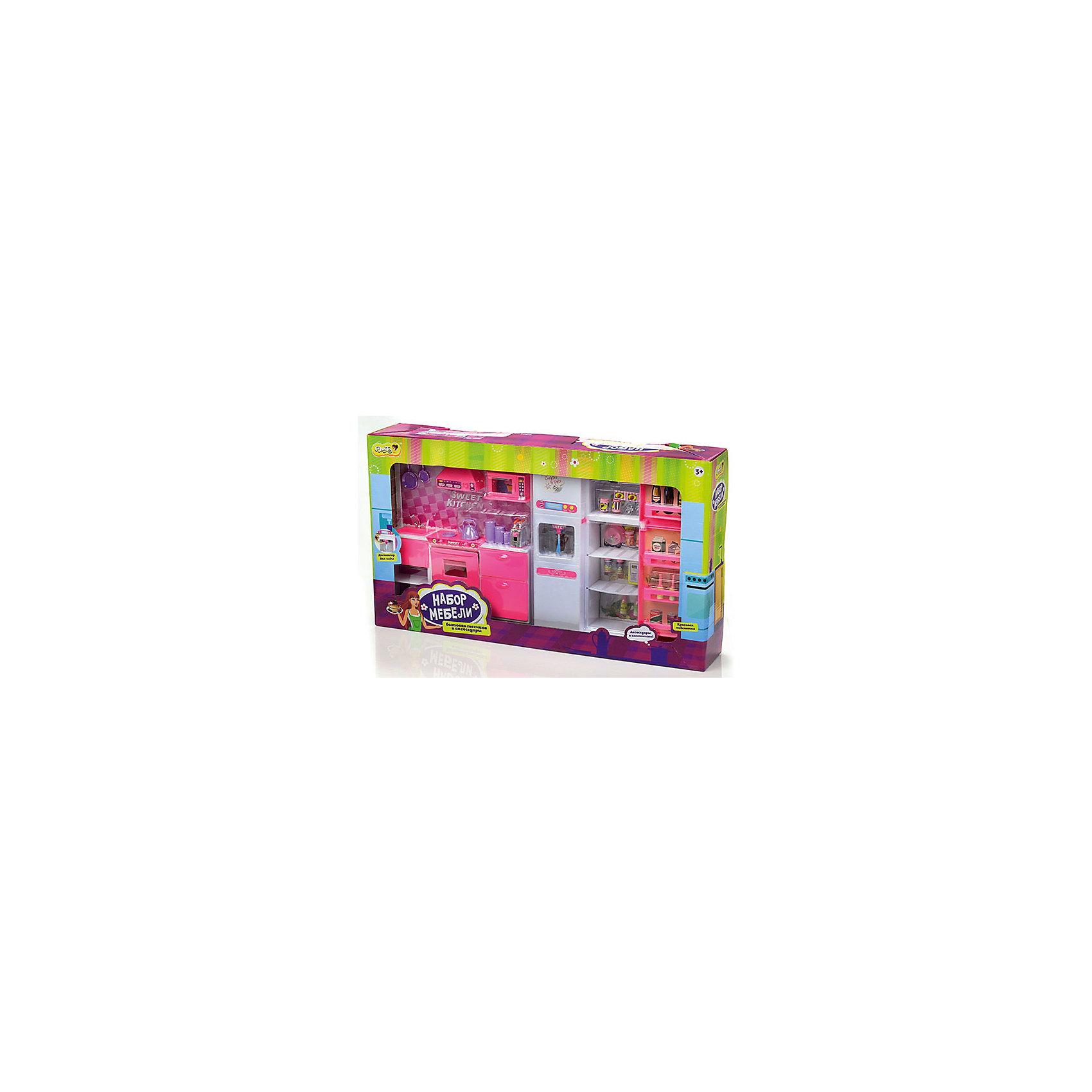 Набор мебели для кукол Большая кухня, DollyToyКукольная одежда и аксессуары<br>Характеристики товара:<br><br>• возраст от 3 лет;<br>• материал: пластик;<br>• в комплекте: кухня с аксессуарами;<br>• размер упаковки 55х31х9 см;<br>• вес упаковки 1,68 кг;<br>• страна производитель: Китай.<br><br>Набор мебели для кукол «Большая кухня» DollyToy — набор бытовой техники с холодильником, посуды для кукол, с которым девочка может придумать сюжеты для игры. Ее любимая куколка может пригласить друзей в гости попить чай или попробовать вкусное блюдо. Дверцы на кухне открываются и закрываются. Игрушка оснащена световыми и звуковыми эффектами.<br><br>Набор мебели для кукол «Большая кухня» DollyToy можно приобрести в нашем интернет-магазине.<br><br>Ширина мм: 550<br>Глубина мм: 90<br>Высота мм: 310<br>Вес г: 1683<br>Возраст от месяцев: 36<br>Возраст до месяцев: 72<br>Пол: Женский<br>Возраст: Детский<br>SKU: 5581266