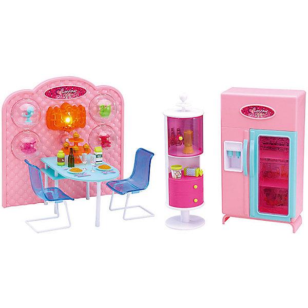 Набор мебели для кукол Уютное кафе, DollyToyИдеи подарков<br>Характеристики товара:<br><br>• возраст от 3 лет;<br>• материал: пластик;<br>• с подсветкой (батарейки в комплекте)<br>• подходит для кукол высотой до 29 см<br>• в комплекте: стол, стулья, шкаф-витрина, холодильник, аксессуары;<br>• размер упаковки 55,4х31,8х9,5 см;<br>• вес упаковки 1,39 кг;<br>• страна производитель: Китай.<br><br>Набор мебели для кукол «Уютное кафе» DollyToy — набор аксессуаров для кукол, с которым можно придумать оригинальные сюжеты для игры. Девочка может разыграть сценку, как ее любимая куколка идет на ужин в кафе с друзьями. Подсветка кафе делает обстановку уютной. Игрушка сделана из качественного безопасного пластика.<br><br>Набор мебели для кукол «Уютное кафе» DollyToy можно приобрести в нашем интернет-магазине.<br><br>Ширина мм: 554<br>Глубина мм: 318<br>Высота мм: 95<br>Вес г: 1390<br>Возраст от месяцев: 36<br>Возраст до месяцев: 72<br>Пол: Женский<br>Возраст: Детский<br>SKU: 5581267