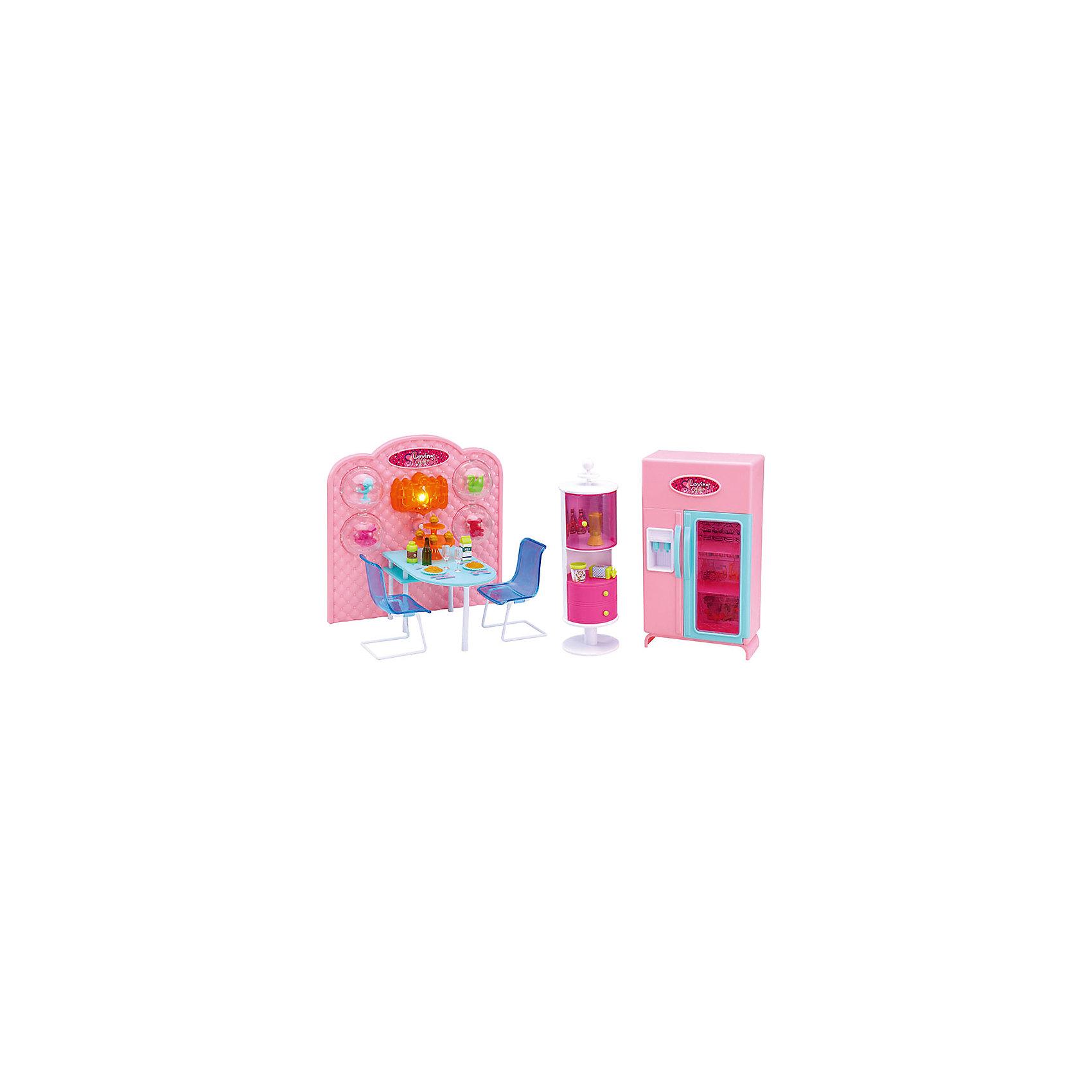 Набор мебели для кукол Уютное кафе, DollyToyКукольная одежда и аксессуары<br>Характеристики товара:<br><br>• возраст от 3 лет;<br>• материал: пластик;<br>• с подсветкой (батарейки в комплекте)<br>• подходит для кукол высотой до 29 см<br>• в комплекте: стол, стулья, шкаф-витрина, холодильник, аксессуары;<br>• размер упаковки 55,4х31,8х9,5 см;<br>• вес упаковки 1,39 кг;<br>• страна производитель: Китай.<br><br>Набор мебели для кукол «Уютное кафе» DollyToy — набор аксессуаров для кукол, с которым можно придумать оригинальные сюжеты для игры. Девочка может разыграть сценку, как ее любимая куколка идет на ужин в кафе с друзьями. Подсветка кафе делает обстановку уютной. Игрушка сделана из качественного безопасного пластика.<br><br>Набор мебели для кукол «Уютное кафе» DollyToy можно приобрести в нашем интернет-магазине.<br><br>Ширина мм: 554<br>Глубина мм: 318<br>Высота мм: 95<br>Вес г: 1390<br>Возраст от месяцев: 36<br>Возраст до месяцев: 72<br>Пол: Женский<br>Возраст: Детский<br>SKU: 5581267
