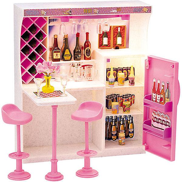 Набор мебели для кукол Весёлая вечеринка, DollyToyОдежда для кукол<br>Характеристики товара:<br><br>• возраст от 3 лет;<br>• материал: пластик;<br>• подсветка бара (батарейки в комплекте)<br>• подходит для кукол высотой до 29 см<br>• в комплекте: стулья, барная стойка, холодильник, аксессуары;<br>• размер упаковки 31х31х9,5 см;<br>• вес упаковки 980 гр.;<br>• страна производитель: Китай.<br><br>Набор мебели для кукол «Веселая вечеринка» DollyToy — набор аксессуаров для кукол, с которым девочка придумает оригинальные сюжеты и истории для игры. Ее любимая куколка сможет позвать своих друзей на самую настоящую вечеринку. Барная стойка подсвечивается, что делает игру еще интересней. Игрушка сделана из качественного безопасного пластика.<br><br>Набор мебели для кукол «Веселая вечеринка» DollyToy можно приобрести в нашем интернет-магазине.<br>Ширина мм: 310; Глубина мм: 310; Высота мм: 95; Вес г: 980; Возраст от месяцев: 36; Возраст до месяцев: 72; Пол: Женский; Возраст: Детский; SKU: 5581269;