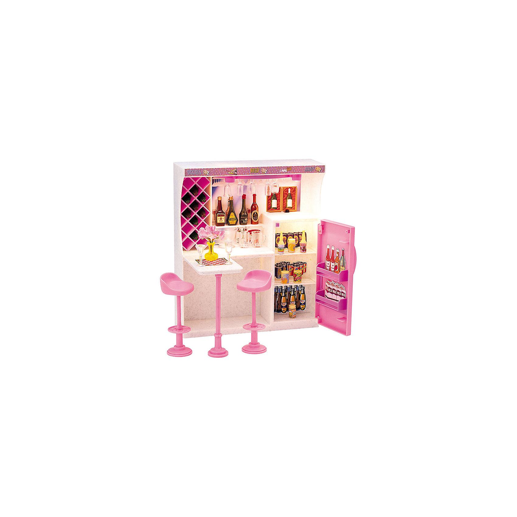 Набор мебели для кукол Весёлая вечеринка, DollyToyИдеи подарков<br>Характеристики товара:<br><br>• возраст от 3 лет;<br>• материал: пластик;<br>• подсветка бара (батарейки в комплекте)<br>• подходит для кукол высотой до 29 см<br>• в комплекте: стулья, барная стойка, холодильник, аксессуары;<br>• размер упаковки 31х31х9,5 см;<br>• вес упаковки 980 гр.;<br>• страна производитель: Китай.<br><br>Набор мебели для кукол «Веселая вечеринка» DollyToy — набор аксессуаров для кукол, с которым девочка придумает оригинальные сюжеты и истории для игры. Ее любимая куколка сможет позвать своих друзей на самую настоящую вечеринку. Барная стойка подсвечивается, что делает игру еще интересней. Игрушка сделана из качественного безопасного пластика.<br><br>Набор мебели для кукол «Веселая вечеринка» DollyToy можно приобрести в нашем интернет-магазине.<br><br>Ширина мм: 310<br>Глубина мм: 310<br>Высота мм: 95<br>Вес г: 980<br>Возраст от месяцев: 36<br>Возраст до месяцев: 72<br>Пол: Женский<br>Возраст: Детский<br>SKU: 5581269