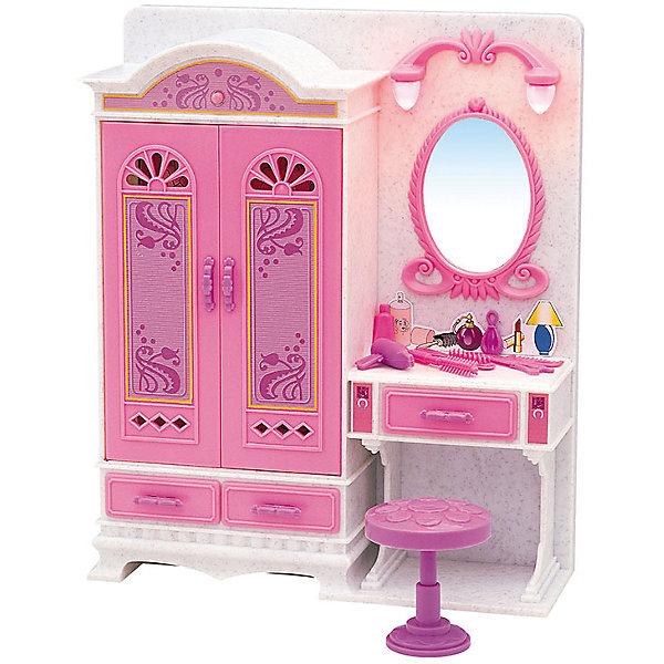 Набор мебели для кукол Волшебное трюмо, DollyToyОдежда для кукол<br>Характеристики товара:<br><br>• возраст от 3 лет;<br>• материал: пластик;<br>• вращающиеся плечики<br>• подсветка зеркала<br>• батарейки в комплекте<br>• подходит для кукол высотой до 29 см<br>• в комплекте: шкаф, зеркало, стул, аксессуары;<br>• размер упаковки 31х31х9,5 см;<br>• вес упаковки 918 гр.;<br>• страна производитель: Китай.<br><br>Набор мебели для кукол «Волшебное трюмо» DollyToy — набор аксессуаров для кукол, с которым девочка придумает оригинальные сюжеты и истории для игры. Посадив куклу на стульчик перед зеркалом, девочка будет создавать оригинальные прически кукле, заплетать и расчесывать волосы. Зеркало подсвечивается. Игрушка сделана из качественного безопасного пластика.<br><br>Набор мебели для кукол «Волшебное трюмо» DollyToy можно приобрести в нашем интернет-магазине.<br><br>Ширина мм: 310<br>Глубина мм: 310<br>Высота мм: 95<br>Вес г: 918<br>Возраст от месяцев: 36<br>Возраст до месяцев: 72<br>Пол: Женский<br>Возраст: Детский<br>SKU: 5581270