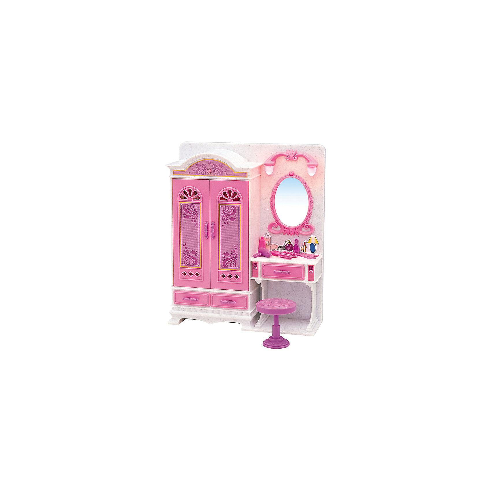 Набор мебели для кукол Волшебное трюмо, DollyToyИдеи подарков<br>Характеристики товара:<br><br>• возраст от 3 лет;<br>• материал: пластик;<br>• вращающиеся плечики<br>• подсветка зеркала<br>• батарейки в комплекте<br>• подходит для кукол высотой до 29 см<br>• в комплекте: шкаф, зеркало, стул, аксессуары;<br>• размер упаковки 31х31х9,5 см;<br>• вес упаковки 918 гр.;<br>• страна производитель: Китай.<br><br>Набор мебели для кукол «Волшебное трюмо» DollyToy — набор аксессуаров для кукол, с которым девочка придумает оригинальные сюжеты и истории для игры. Посадив куклу на стульчик перед зеркалом, девочка будет создавать оригинальные прически кукле, заплетать и расчесывать волосы. Зеркало подсвечивается. Игрушка сделана из качественного безопасного пластика.<br><br>Набор мебели для кукол «Волшебное трюмо» DollyToy можно приобрести в нашем интернет-магазине.<br><br>Ширина мм: 310<br>Глубина мм: 310<br>Высота мм: 95<br>Вес г: 918<br>Возраст от месяцев: 36<br>Возраст до месяцев: 72<br>Пол: Женский<br>Возраст: Детский<br>SKU: 5581270