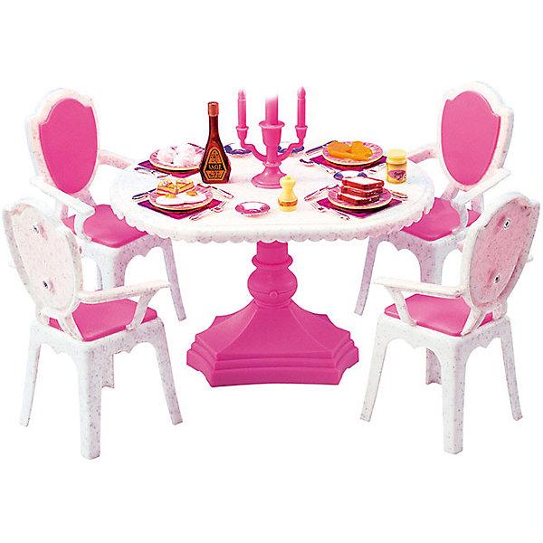 Набор мебели для кукол Обеденный стол, DollyToyИдеи подарков<br>Характеристики товара:<br><br>• возраст от 3 лет;<br>• материал: пластик;<br>• в комплекте: стол, стулья, аксессуары;<br>• красивая подстветка (батарейки в комплекте)<br>• рычажок для включения находится на ножке стола<br>• подходит для кукол высотой до 29 см<br>• размер упаковки 29,5х20,3х8,7 см;<br>• вес упаковки 500 гр.;<br>• страна производитель: Китай.<br><br>Набор мебели для кукол «Обеденный стол» DollyToy представляет собой круглый стол, за которым кукла сможет устроить праздничный обед. С набором девочка сможет придумывать свои сюжеты и истории для игры, проявляя фантазию. Игрушка изготовлена из качественного безопасного пластика.<br><br>Набор мебели для кукол «Обеденный стол» DollyToy можно приобрести в нашем интернет-магазине.<br>Ширина мм: 295; Глубина мм: 203; Высота мм: 87; Вес г: 500; Возраст от месяцев: 36; Возраст до месяцев: 72; Пол: Женский; Возраст: Детский; SKU: 5581274;