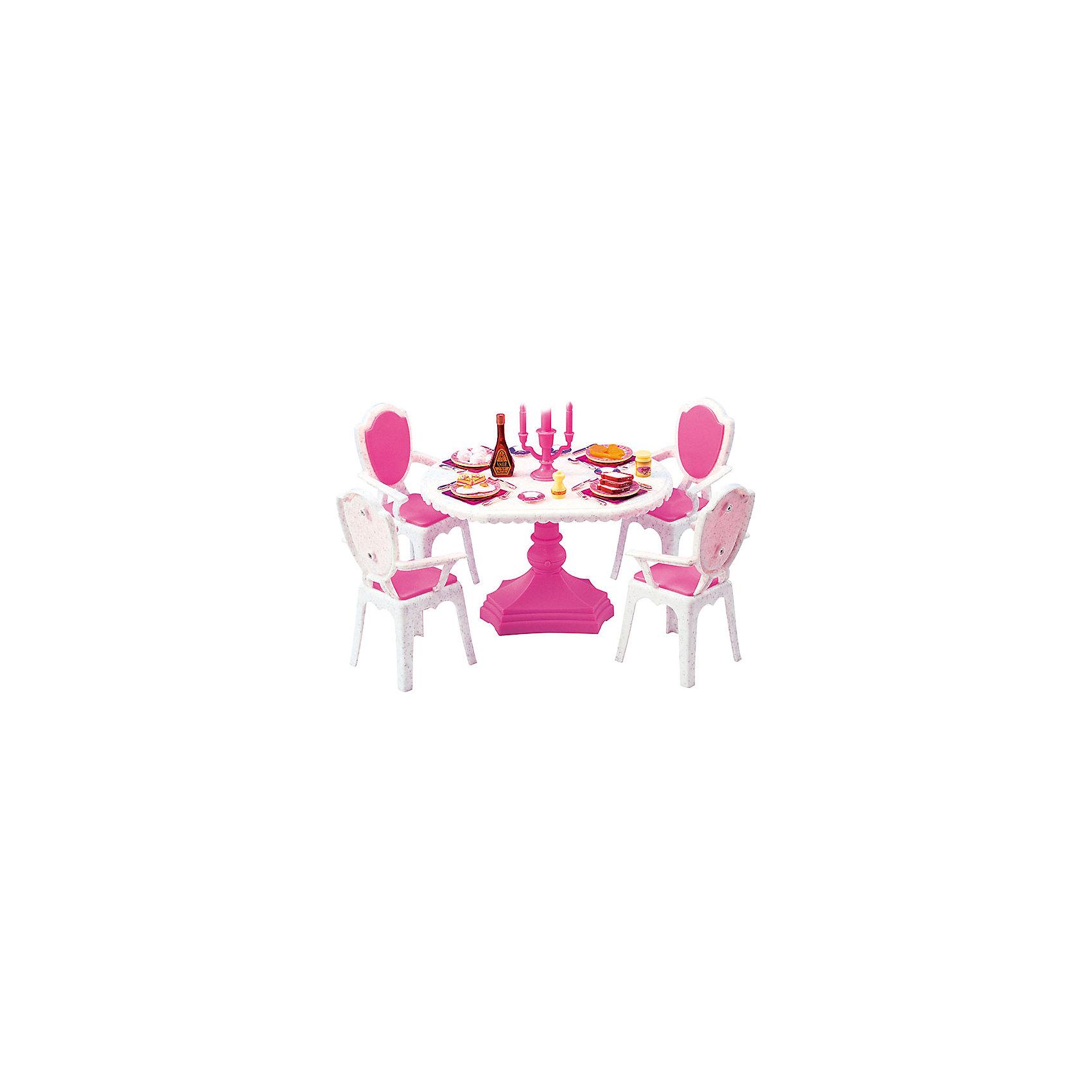 Набор мебели для кукол Обеденный стол, DollyToyКукольная одежда и аксессуары<br>Характеристики товара:<br><br>• возраст от 3 лет;<br>• материал: пластик;<br>• в комплекте: стол, стулья, аксессуары;<br>• красивая подстветка (батарейки в комплекте)<br>• рычажок для включения находится на ножке стола<br>• подходит для кукол высотой до 29 см<br>• размер упаковки 29,5х20,3х8,7 см;<br>• вес упаковки 500 гр.;<br>• страна производитель: Китай.<br><br>Набор мебели для кукол «Обеденный стол» DollyToy представляет собой круглый стол, за которым кукла сможет устроить праздничный обед. С набором девочка сможет придумывать свои сюжеты и истории для игры, проявляя фантазию. Игрушка изготовлена из качественного безопасного пластика.<br><br>Набор мебели для кукол «Обеденный стол» DollyToy можно приобрести в нашем интернет-магазине.<br><br>Ширина мм: 295<br>Глубина мм: 203<br>Высота мм: 87<br>Вес г: 500<br>Возраст от месяцев: 36<br>Возраст до месяцев: 72<br>Пол: Женский<br>Возраст: Детский<br>SKU: 5581274