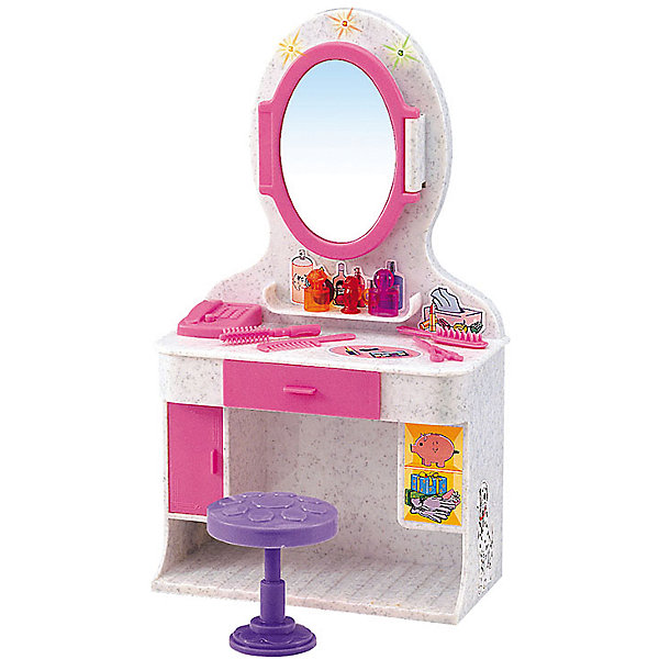 Набор мебели для кукол Магическое зеркало, DollyToyМебель для кукол<br>Характеристики товара:<br><br>• возраст от 3 лет;<br>• материал: пластик;<br>• в комплекте: столик, зеркало, стул, аксессуары;<br>• световые, звуковые эффекты (батарейки в комплекте)<br>• подходит для кукол высотой до 29 см<br>• размер упаковки 31х21х9,5 см;<br>• вес упаковки 560 гр.;<br>• страна производитель: Китай.<br><br>Набор мебели для кукол «Магическое зеркало» представляет собой небольшой туалетный столик с зеркалом для куклы, за которым девочка сможет расчесывать и заплетать кукле волосы, придумывать прически, делать макияж. Набор оснащен световыми и звуковыми эффектами, которые делают игру увлекательней. Игрушка изготовлена из качественного безопасного пластика.<br><br>Набор мебели для кукол «Магическое зеркало» DollyToy можно приобрести в нашем интернет-магазине.<br><br>Ширина мм: 310<br>Глубина мм: 210<br>Высота мм: 95<br>Вес г: 560<br>Возраст от месяцев: 36<br>Возраст до месяцев: 72<br>Пол: Женский<br>Возраст: Детский<br>SKU: 5581275