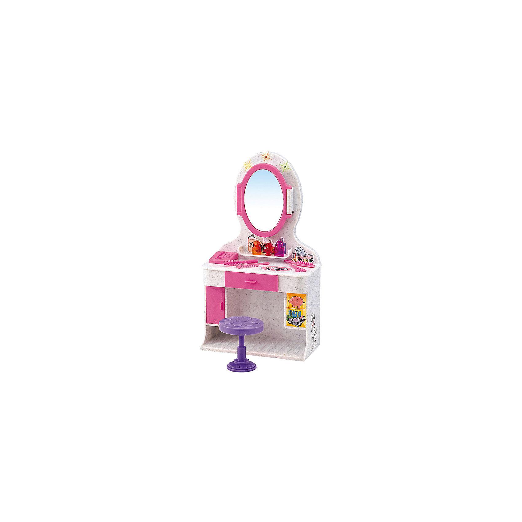 Набор мебели для кукол Магическое зеркало, DollyToyДомики и мебель<br>Характеристики товара:<br><br>• возраст от 3 лет;<br>• материал: пластик;<br>• в комплекте: столик, зеркало, стул, аксессуары;<br>• световые, звуковые эффекты (батарейки в комплекте)<br>• подходит для кукол высотой до 29 см<br>• размер упаковки 31х21х9,5 см;<br>• вес упаковки 560 гр.;<br>• страна производитель: Китай.<br><br>Набор мебели для кукол «Магическое зеркало» представляет собой небольшой туалетный столик с зеркалом для куклы, за которым девочка сможет расчесывать и заплетать кукле волосы, придумывать прически, делать макияж. Набор оснащен световыми и звуковыми эффектами, которые делают игру увлекательней. Игрушка изготовлена из качественного безопасного пластика.<br><br>Набор мебели для кукол «Магическое зеркало» DollyToy можно приобрести в нашем интернет-магазине.<br><br>Ширина мм: 310<br>Глубина мм: 210<br>Высота мм: 95<br>Вес г: 560<br>Возраст от месяцев: 36<br>Возраст до месяцев: 72<br>Пол: Женский<br>Возраст: Детский<br>SKU: 5581275