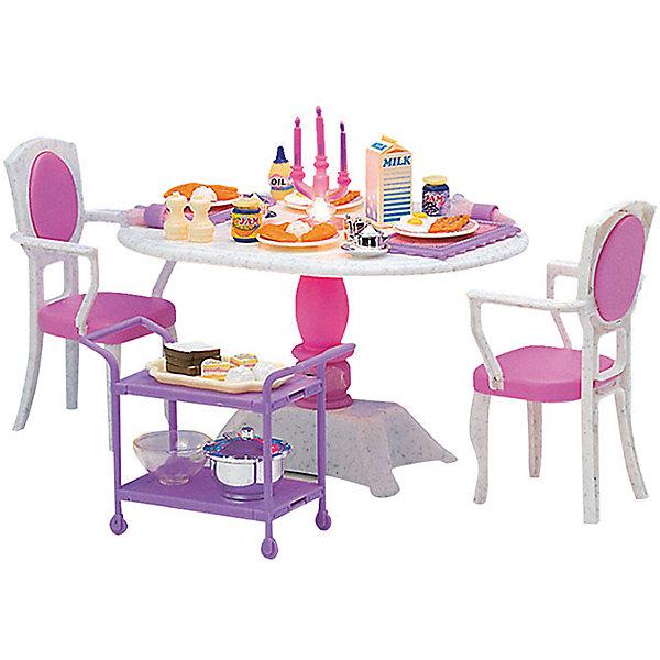 Набор мебели для кукол Ужин в ресторане, DollyToyИдеи подарков<br>Характеристики товара:<br><br>• возраст от 3 лет;<br>• материал: пластик;<br>• в комплекте: стол, стулья, столик на колесиках, аксессуары;<br>• с подсветкой (батарейки в комплекте)<br>• подходит для кукол высотой до 29 см<br>• размер упаковки 29,5х20,3х8,7 см;<br>• вес упаковки 430 гр.;<br>• страна производитель: Китай.<br><br>Набор мебели для кукол «Ужин в ресторане» DollyToy включает круглый стол и все аксессуары, с которым можно устроить настоящий ужин в ресторане для куклы. Подсветка создает уютную атмосферу. С набором девочка сможет придумывать свои сюжеты и истории для игры, проявляя фантазию. Игрушка изготовлена из качественного безопасного пластика.<br><br>Набор мебели для кукол «Ужин в ресторане» DollyToy можно приобрести в нашем интернет-магазине.<br>Ширина мм: 295; Глубина мм: 203; Высота мм: 87; Вес г: 430; Возраст от месяцев: 36; Возраст до месяцев: 72; Пол: Женский; Возраст: Детский; SKU: 5581276;