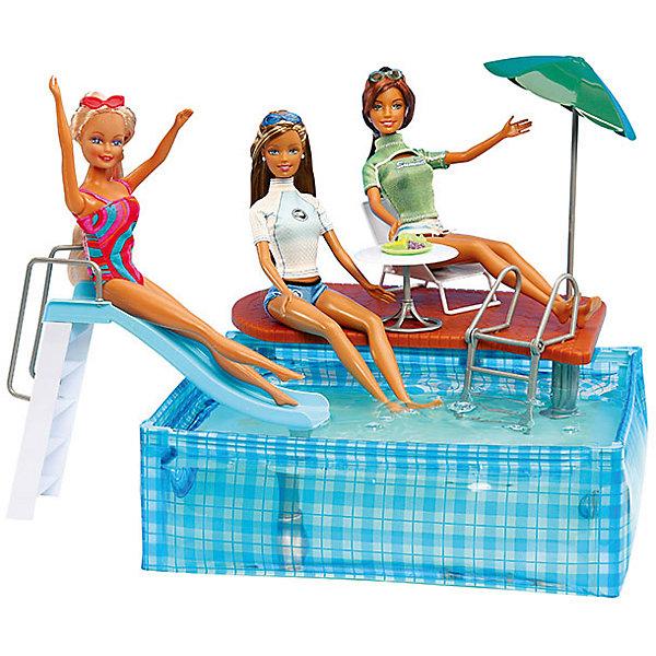 Набор мебели для кукол Вечеринка в бассейне, DollyToyИдеи подарков<br>Характеристики товара:<br><br>• возраст от 3 лет;<br>• материал: пластик;<br>• в комплекте: бассейн, аксессуары;<br>• можно наполнять водой<br>• подходит для кукол высотой до 29 см<br>• размер упаковки 30х21х6 см;<br>• вес упаковки 440 гр.;<br>• страна производитель: Китай.<br><br>Набор мебели для кукол «Вечеринка в бассейне» DollyToy позволит устроить для куклы настоящую пляжную вечеринку. Бассейн оборудован лестницей для спуска, зонтиком, столиком и небольшой площадкой. Он может стать для куклы местом для отдыха. Бассейн заполняется водой. С набором девочка сможет придумывать свои сюжеты и истории для игры, проявляя фантазию. Игрушка изготовлена из качественного безопасного пластика.<br><br>Набор мебели для кукол «Вечеринка в бассейне» DollyToy можно приобрести в нашем интернет-магазине.<br>Ширина мм: 300; Глубина мм: 210; Высота мм: 60; Вес г: 440; Возраст от месяцев: 36; Возраст до месяцев: 72; Пол: Женский; Возраст: Детский; SKU: 5581278;