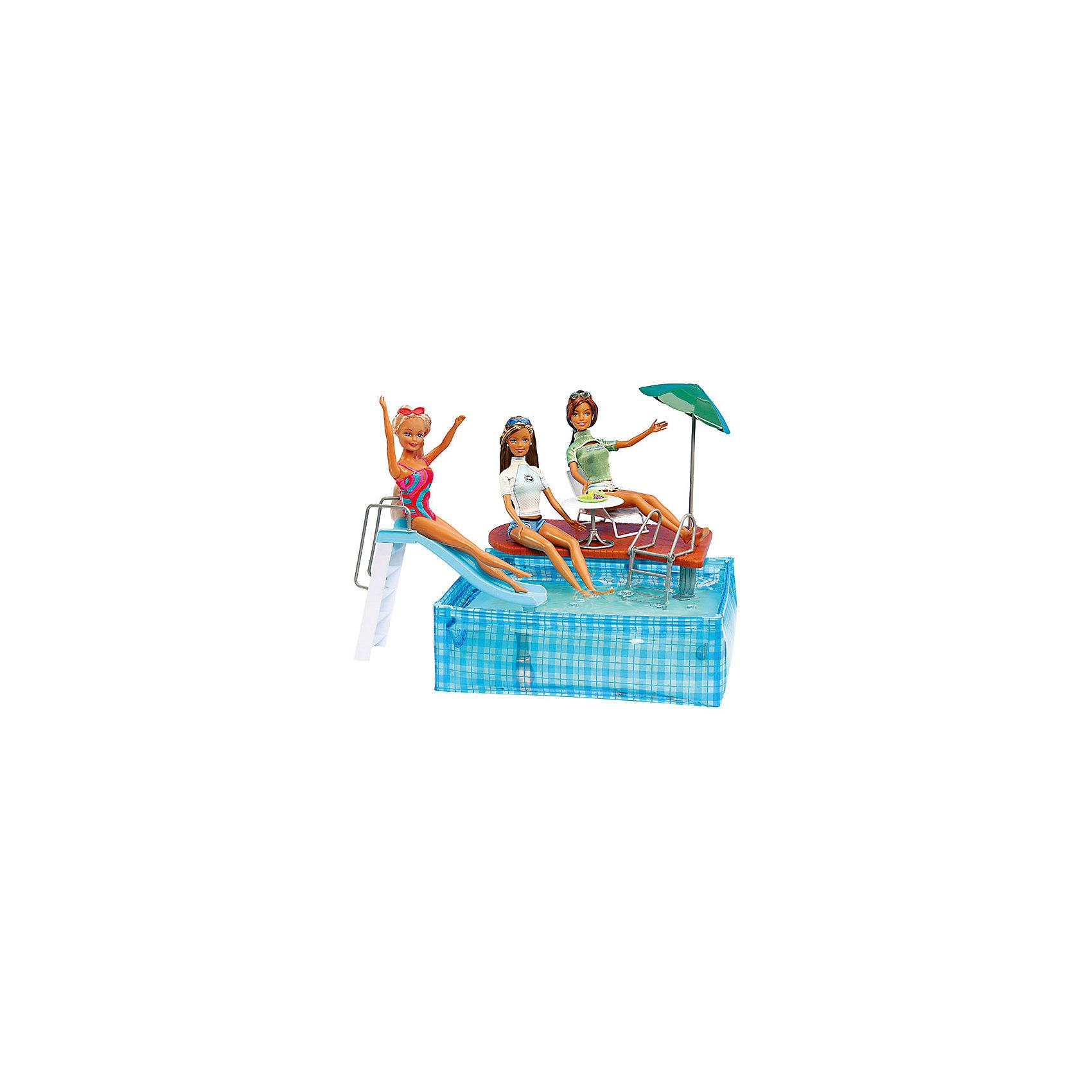 Набор мебели для кукол Вечеринка в бассейне, DollyToyДомики и мебель<br><br><br>Ширина мм: 300<br>Глубина мм: 210<br>Высота мм: 60<br>Вес г: 440<br>Возраст от месяцев: 36<br>Возраст до месяцев: 72<br>Пол: Женский<br>Возраст: Детский<br>SKU: 5581278