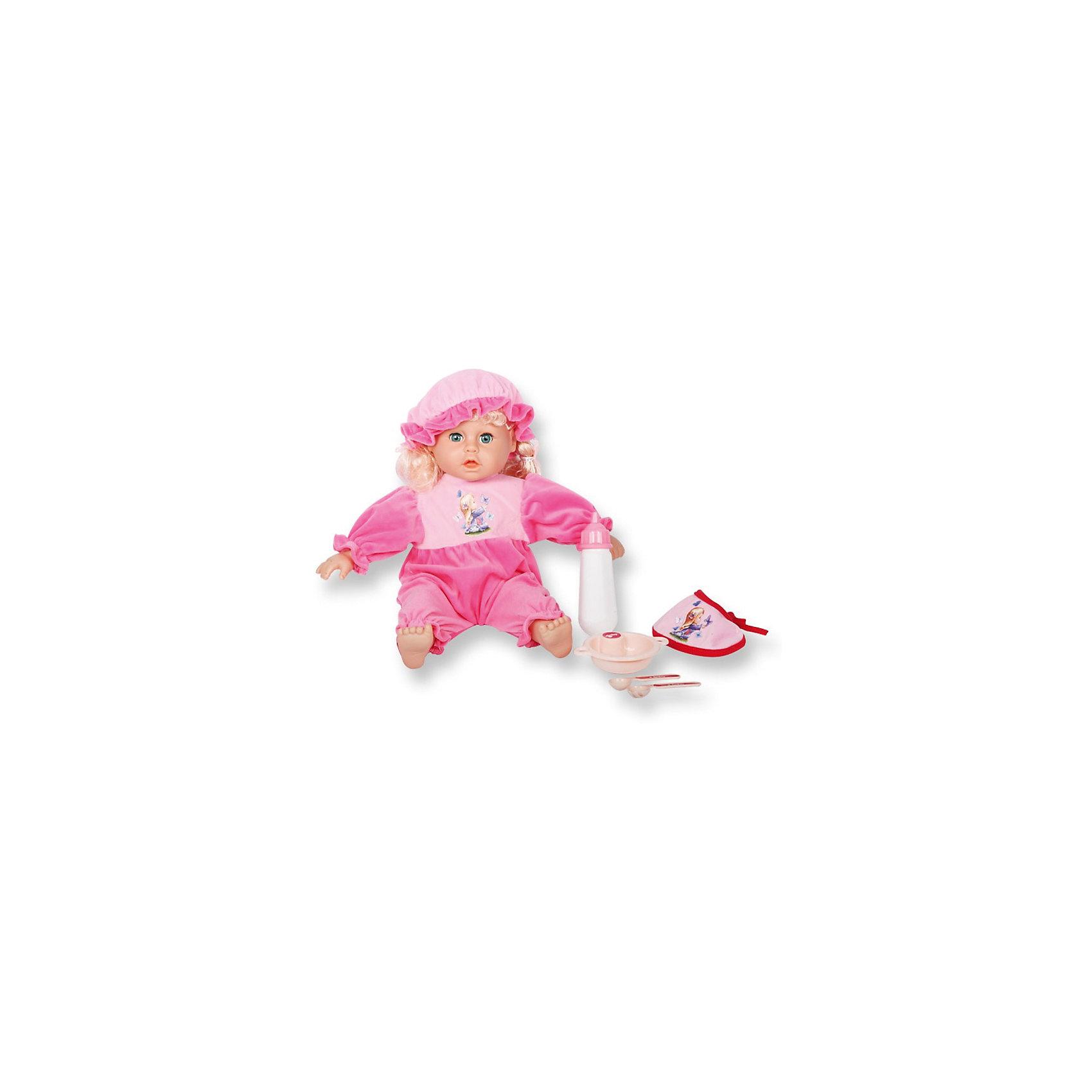 Интерактивная кукла-младенец Ангелочек, 45 см, DollyToyИнтерактивные куклы<br>Характеристики товара:<br><br>• возраст от 3 лет;<br>• материал: пластик, текстиль;<br>• в комплекте: кукла, аксессуары;<br>• высота куклы 45 см;<br>• размер упаковки 38х28,3х12 см;<br>• вес упаковки 1,66 кг;<br>• страна производитель: Китай.<br><br>Интерактивная кукла-младенец «Ангелочек» DollyToy привьет девочке чувство заботы, любви, ответственности. Кукла умеет разговаривать, смеяться, плакать, говорить «Я люблю тебя», хлопать глазками. При нажатии на левую руку, она заплачет. При нажатии на правую руку — скажет «мама» и «папа». В наборе имеются все необходимые аксессуары для кормления, когда малышка захочет покушать.<br><br>Интерактивную куклу-младенец «Ангелочек» DollyToy можно приобрести в нашем интернет-магазине.<br><br>Ширина мм: 283<br>Глубина мм: 120<br>Высота мм: 380<br>Вес г: 1660<br>Возраст от месяцев: 36<br>Возраст до месяцев: 72<br>Пол: Женский<br>Возраст: Детский<br>SKU: 5581281