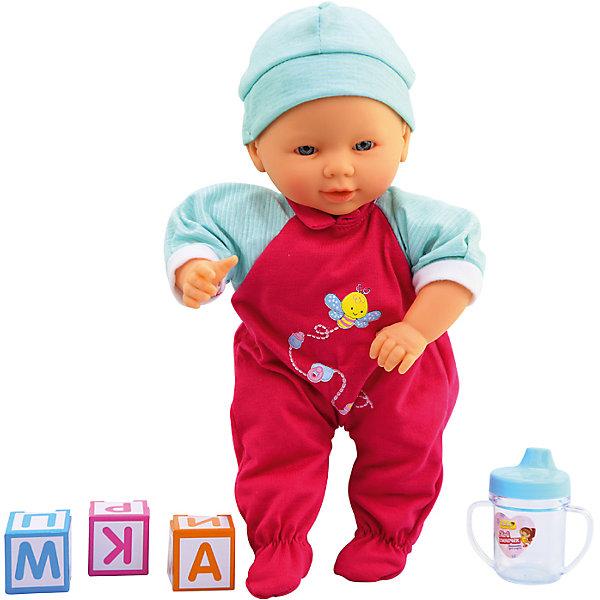 Интерактивная кукла-младенец Мой сыночек, 35,5 см, DollyToyКуклы<br>Характеристики товара:<br><br>• возраст от 3 лет;<br>• материал: пластик, текстиль;<br>• в комплекте: кукла, аксессуары;<br>• высота куклы 35,5 см;<br>• размер упаковки 37х26х13,5 см;<br>• вес упаковки 800 гр.;<br>• страна производитель: Китай.<br><br>Интерактивная кукла-младенец «Мой сыночек» DollyToy привьет девочке чувство заботы, любви, ответственности. Кукла умеет разговаривать, смеяться, плакать, двигаться, говорить «мама» и «папа». В наборе имеется бутылочка, чтобы покормить малыша, когда он захочет кушать.<br><br>Интерактивную куклу-младенец «Мой сыночек» DollyToy можно приобрести в нашем интернет-магазине.<br>Ширина мм: 260; Глубина мм: 135; Высота мм: 370; Вес г: 800; Возраст от месяцев: 36; Возраст до месяцев: 72; Пол: Женский; Возраст: Детский; SKU: 5581283;