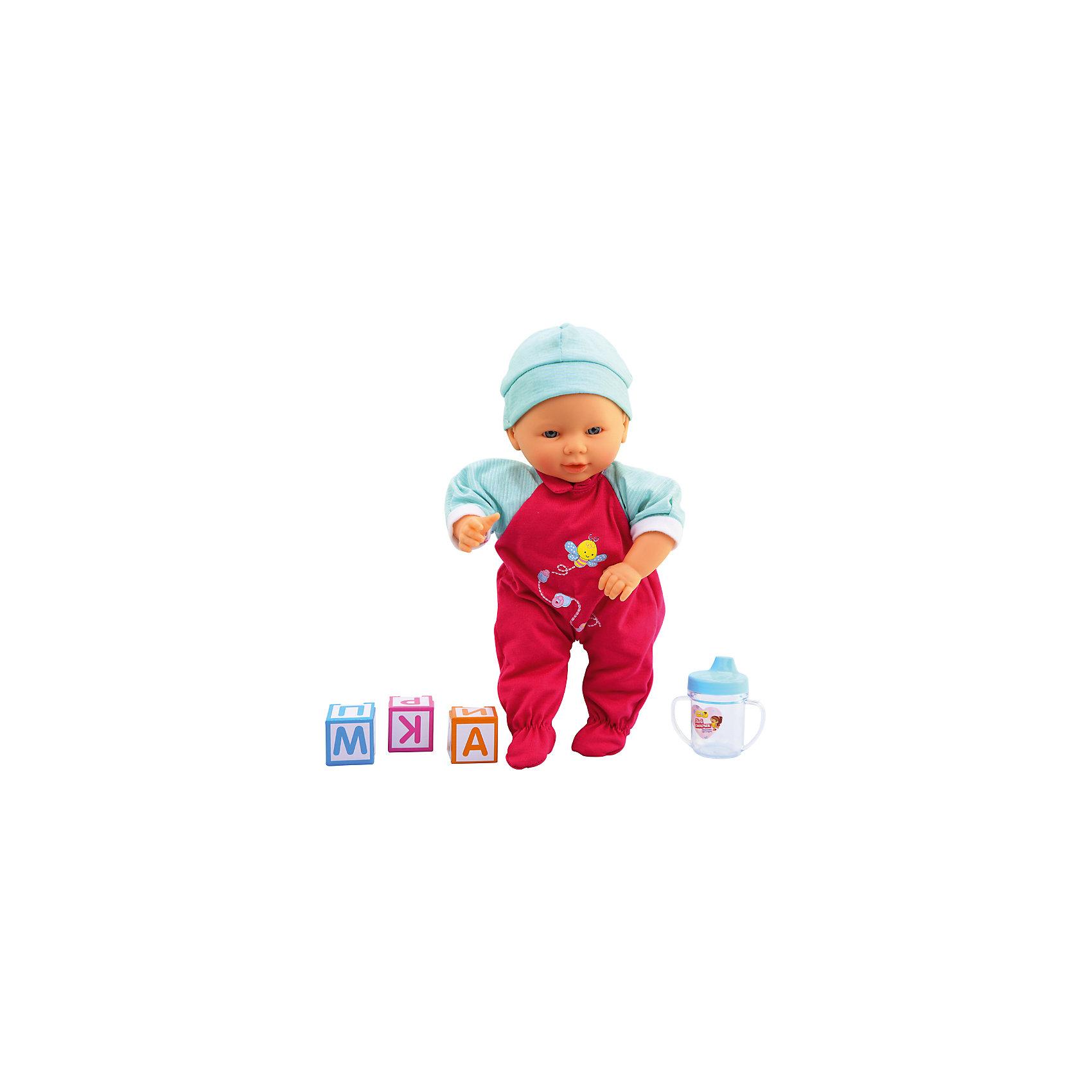 Интерактивная кукла-младенец Мой сыночек, 35,5 см, DollyToyИнтерактивные куклы<br>Характеристики товара:<br><br>• возраст от 3 лет;<br>• материал: пластик, текстиль;<br>• в комплекте: кукла, аксессуары;<br>• высота куклы 35,5 см;<br>• размер упаковки 37х26х13,5 см;<br>• вес упаковки 800 гр.;<br>• страна производитель: Китай.<br><br>Интерактивная кукла-младенец «Мой сыночек» DollyToy привьет девочке чувство заботы, любви, ответственности. Кукла умеет разговаривать, смеяться, плакать, двигаться, говорить «мама» и «папа». В наборе имеется бутылочка, чтобы покормить малыша, когда он захочет кушать.<br><br>Интерактивную куклу-младенец «Мой сыночек» DollyToy можно приобрести в нашем интернет-магазине.<br><br>Ширина мм: 260<br>Глубина мм: 135<br>Высота мм: 370<br>Вес г: 800<br>Возраст от месяцев: 36<br>Возраст до месяцев: 72<br>Пол: Женский<br>Возраст: Детский<br>SKU: 5581283