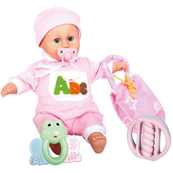 Интерактивная кукла-младенец Моя малышка, 42 см, DollyToyКуклы<br>Характеристики товара:<br><br>• возраст от 3 лет;<br>• материал: пластик, текстиль;<br>• в комплекте: кукла, соска, сумочка, 2 погремушки;<br>• высота куклы 42 см;<br>• размер упаковки 41х33,5х15,5 см;<br>• вес упаковки 1,275 кг;<br>• страна производитель: Китай.<br><br>Интерактивная кукла-младенец «Моя малышка» DollyToy привьет девочке чувство заботы, любви, ответственности. Если забрать у малыша соску, он начнет плакать. Чтобы развеселить малышку, можно поиграть с ней в погремушки. В наборе сумочка для хранения всех предметов.<br><br>Интерактивную куклу-младенец «Моя малышка» DollyToy можно приобрести в нашем интернет-магазине.<br>Ширина мм: 410; Глубина мм: 155; Высота мм: 335; Вес г: 1275; Возраст от месяцев: 36; Возраст до месяцев: 72; Пол: Женский; Возраст: Детский; SKU: 5581284;