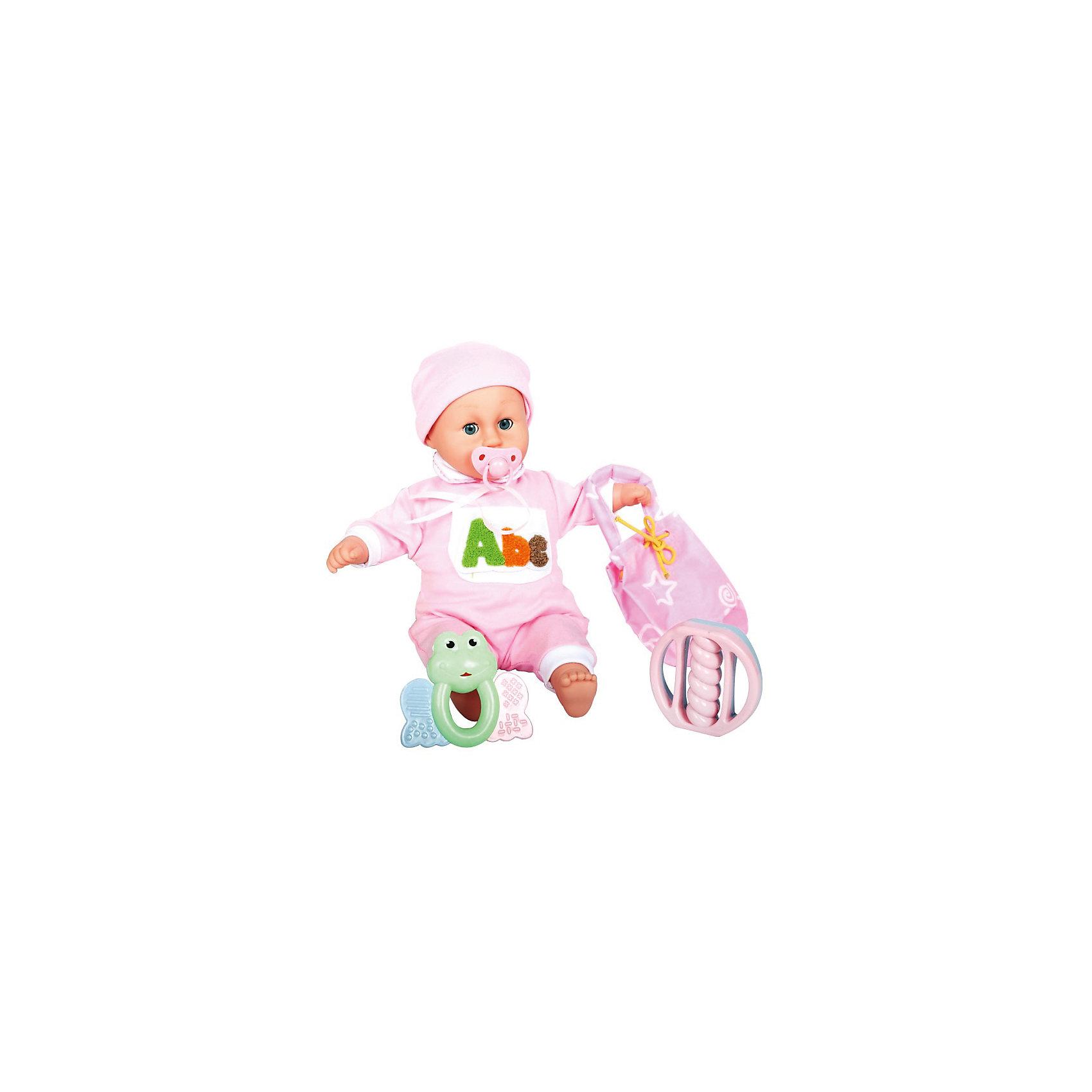 Интерактивная кукла-младенец Моя малышка, 42 см, DollyToyКуклы-пупсы<br>Характеристики товара:<br><br>• возраст от 3 лет;<br>• материал: пластик, текстиль;<br>• в комплекте: кукла, соска, сумочка, 2 погремушки;<br>• высота куклы 42 см;<br>• размер упаковки 41х33,5х15,5 см;<br>• вес упаковки 1,275 кг;<br>• страна производитель: Китай.<br><br>Интерактивная кукла-младенец «Моя малышка» DollyToy привьет девочке чувство заботы, любви, ответственности. Если забрать у малыша соску, он начнет плакать. Чтобы развеселить малышку, можно поиграть с ней в погремушки. В наборе сумочка для хранения всех предметов.<br><br>Интерактивную куклу-младенец «Моя малышка» DollyToy можно приобрести в нашем интернет-магазине.<br><br>Ширина мм: 410<br>Глубина мм: 155<br>Высота мм: 335<br>Вес г: 1275<br>Возраст от месяцев: 36<br>Возраст до месяцев: 72<br>Пол: Женский<br>Возраст: Детский<br>SKU: 5581284