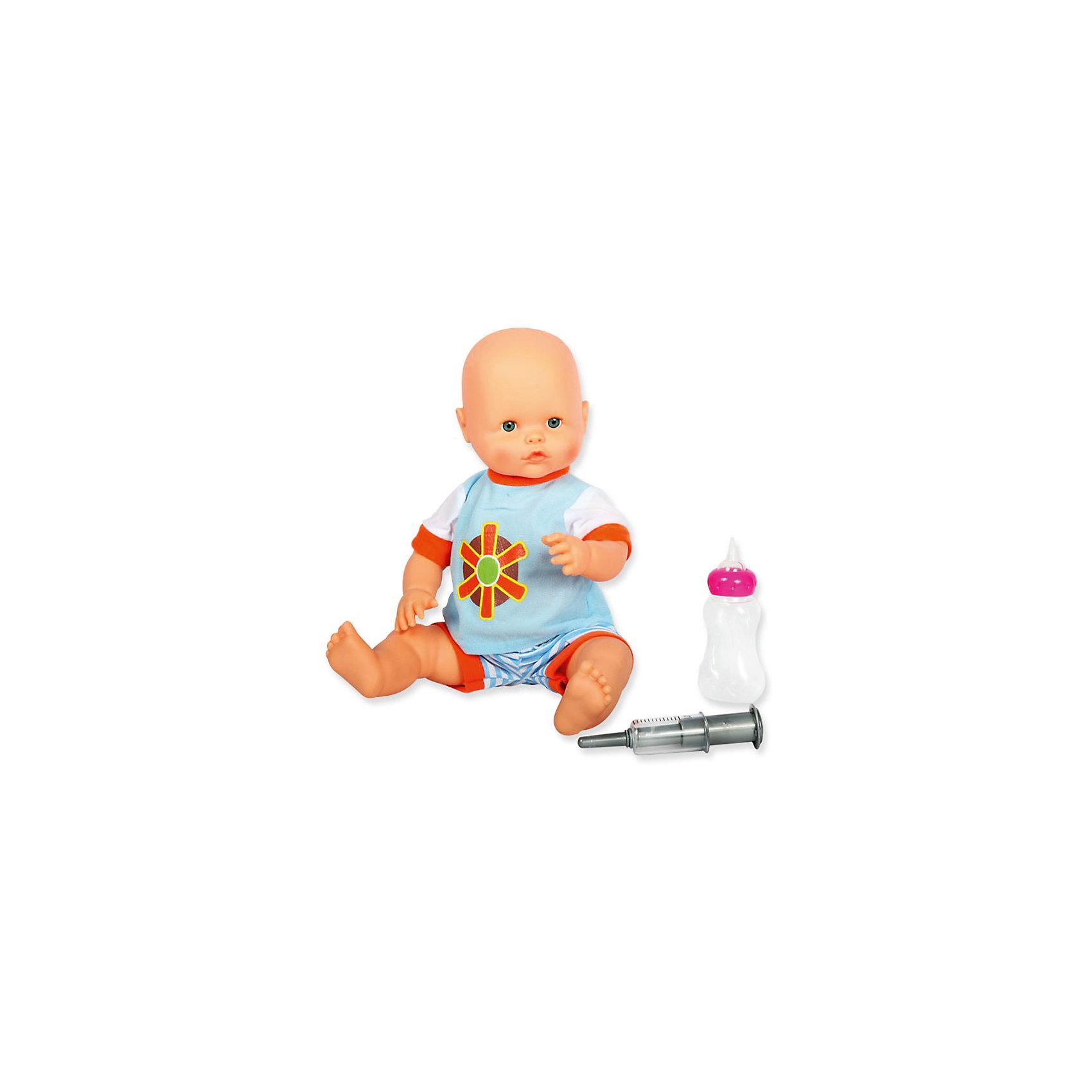 Пупс интерактивный Здоровый карапуз, 40 см, DollyToyКуклы<br>Характеристики товара:<br><br>• возраст от 3 лет;<br>• материал: пластик, текстиль;<br>• в комплекте: кукла, шприц, бутылочка;<br>• высота куклы 40 см;<br>• размер упаковки 44х28х15 см;<br>• вес упаковки 1,17 кг;<br>• страна производитель: Китай.<br><br>Пупс интерактивный «Здоровый карапуз» DollyToy привьет девочке чувство заботы, любви, ответственности. О малыше надо позаботиться, чтобы он не заболел. После купания он кашляет, дрожит, у него течет вода из носика. Надо вовремя поставить крохе укол. Когда малыш захочет покушать, его можно покормить из бутылочки. Кукла сделана из влагонепроницаемого материла, что позволяет купать ее в ванной.<br><br>Пупса интерактивного «Здоровый карапуз» DollyToy можно приобрести в нашем интернет-магазине.<br><br>Ширина мм: 280<br>Глубина мм: 150<br>Высота мм: 440<br>Вес г: 1170<br>Возраст от месяцев: 36<br>Возраст до месяцев: 72<br>Пол: Женский<br>Возраст: Детский<br>SKU: 5581285