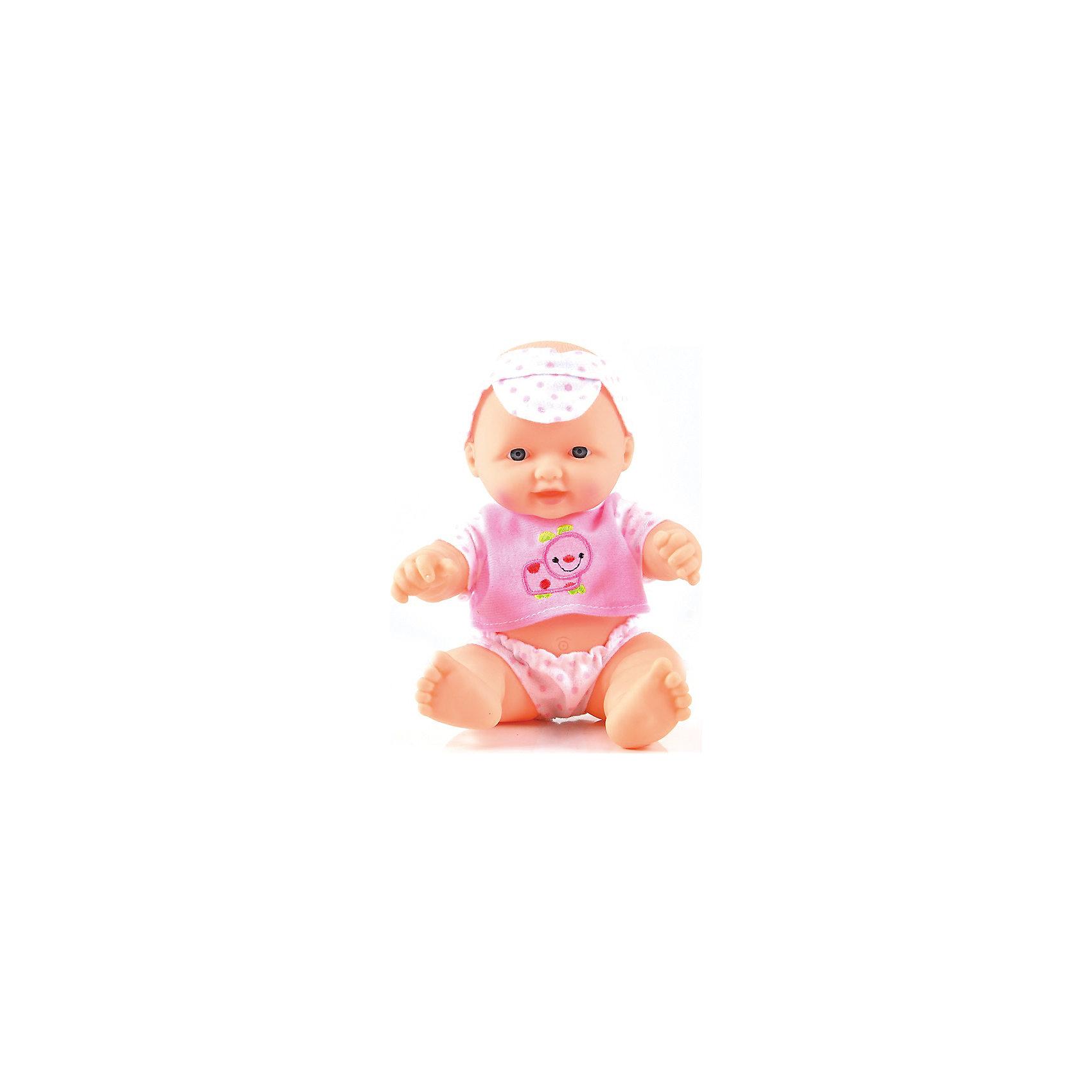Пупс Маленький сладкоежка, 24 см, DollyToyКуклы-пупсы<br>Характеристики товара:<br><br>• возраст от 3 лет;<br>• материал: пластик, текстиль;<br>• в комплекте: кукла;<br>• высота куклы 24 см;<br>• размер упаковки 20х15,5х11 см;<br>• вес упаковки 330 гр.;<br>• страна производитель: Китай.<br><br>Пупс «Маленький сладкоежка» DollyToy привьет девочке чувство заботы и ответственности. У карапуза добрые темные глазки. Он одет в розовые трусишки и футболочку. С ним девочка может придумывать сюжеты для игры, заботясь о малыше, укладывая его спать.<br><br>Пупса «Маленький сладкоежка» DollyToy можно приобрести в нашем интернет-магазине.<br><br>Ширина мм: 155<br>Глубина мм: 110<br>Высота мм: 200<br>Вес г: 330<br>Возраст от месяцев: 36<br>Возраст до месяцев: 72<br>Пол: Женский<br>Возраст: Детский<br>SKU: 5581287