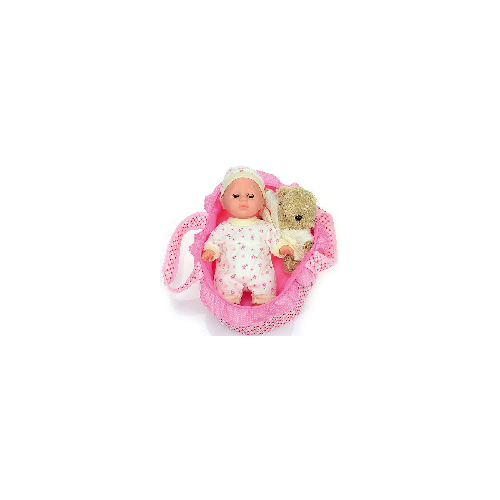 Пупс Озорной карапуз, 30 см, DollyToyКуклы-пупсы<br>Характеристики товара:<br><br>• возраст от 3 лет;<br>• материал: пластик, текстиль;<br>• в комплекте: кукла, люлька, подушка, игрушка;<br>• высота куклы 30 см;<br>• размер упаковки 33х33х10 см;<br>• вес упаковки 654 гр.;<br>• страна производитель: Китай.<br><br>Пупс «Озорной карапуз» DollyToy привьет девочке чувство заботы и ответственности. С ним девочка может придумывать сюжеты для игры, заботясь о малыше. Когда он захочет поспать, его можно уложить в удобную колыбельку с подушкой. А для веселых игр есть плюшевая игрушка.<br><br>Пупса «Озорной карапуз» DollyToy можно приобрести в нашем интернет-магазине.<br><br>Ширина мм: 330<br>Глубина мм: 330<br>Высота мм: 100<br>Вес г: 654<br>Возраст от месяцев: 36<br>Возраст до месяцев: 72<br>Пол: Женский<br>Возраст: Детский<br>SKU: 5581288