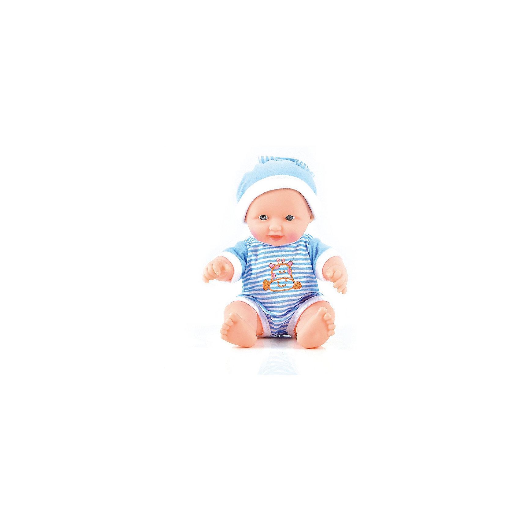 Пупс Смышлённый малыш, 24 см, DollyToyКуклы-пупсы<br>Характеристики товара:<br><br>• возраст от 3 лет;<br>• материал: пластик, текстиль;<br>• в комплекте: кукла;<br>• высота куклы 24 см;<br>• размер упаковки 20х15,5х11 см;<br>• вес упаковки 333 гр.;<br>• страна производитель: Китай.<br><br>Пупс «Смышленный малыш» DollyToy привьет девочке чувство заботы и ответственности. У карапуза добрые темные глазки. Он одет в голубой комбинезон и шапочку. С ним девочка может придумывать сюжеты для игры, заботясь о малыше, укладывая его спать.<br><br>Пупса «Смышленный малыш» DollyToy можно приобрести в нашем интернет-магазине.<br><br>Ширина мм: 155<br>Глубина мм: 110<br>Высота мм: 200<br>Вес г: 333<br>Возраст от месяцев: 36<br>Возраст до месяцев: 72<br>Пол: Женский<br>Возраст: Детский<br>SKU: 5581289