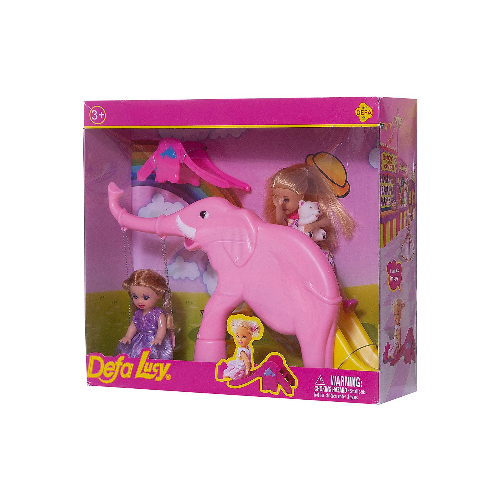 Набор из 2-х кукол В зоопарке, 11 см, 14 см, Defa LucyНаборы кукол<br>Характеристики товара:<br><br>• возраст от 3 лет;<br>• материал: пластик, текстиль;<br>• в комплекте: 2 куклы, горка-слон;<br>• высота кукол 11 и 14 см;<br>• размер упаковки 28х25х8 см;<br>• вес упаковки 470 гр.;<br>• страна производитель: Китай.<br><br>Набор из 2 кукол «В зоопарке» Defa Lucy включает двух милых кукол, которые весело проводят время, катаясь на качелях и с горки в форме большого слона. Игрушки изготовлены из качественного безопасного материала.<br><br>Набор из 2 кукол «В зоопарке» Defa Lucy можно приобрести в нашем интернет-магазине.<br><br>Ширина мм: 280<br>Глубина мм: 250<br>Высота мм: 80<br>Вес г: 470<br>Возраст от месяцев: 36<br>Возраст до месяцев: 72<br>Пол: Женский<br>Возраст: Детский<br>SKU: 5581292