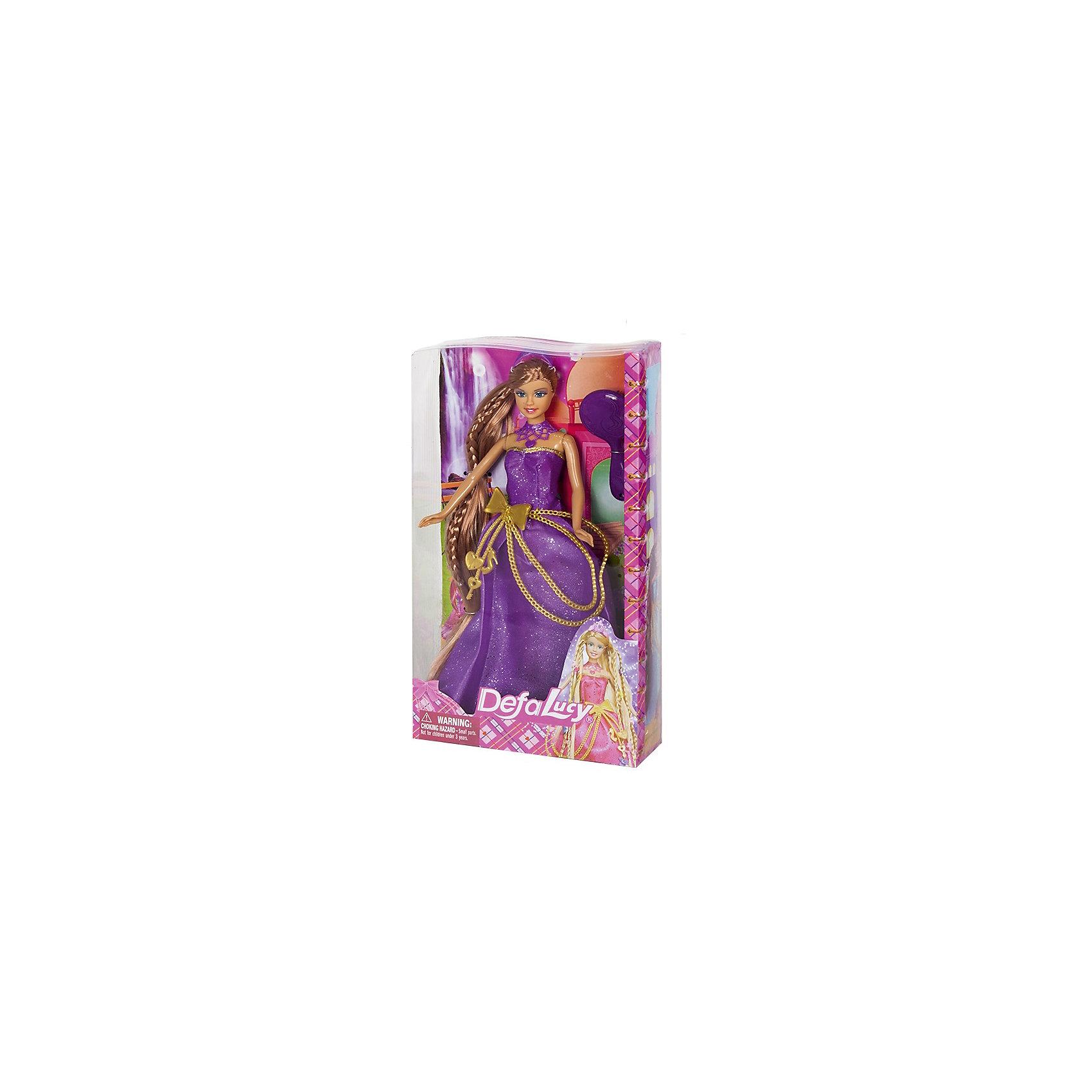 Кукла Длинная коса, Defa LucyКуклы<br>Характеристики товара:<br><br>• возраст от 3 лет;<br>• материал: пластик, текстиль;<br>• в комплекте: кукла, аксессуары;<br>• размер упаковки 31,5х18х5,5 см;<br>• вес упаковки 300 гр.;<br>• страна производитель: Китай.<br><br>Кукла «Длинная коса» Defa Lucy одета в переливающееся фиолетовое платье. На ее шее шикарное колье, а голову украшает диадема. Девочке обязательно понравится придумывать кукле прически на ее длинных густых волосах, создавая каждый раз новые образы.<br><br>Куклу «Длинная коса» Defa Lucy можно приобрести в нашем интернет-магазине.<br><br>Ширина мм: 180<br>Глубина мм: 55<br>Высота мм: 315<br>Вес г: 300<br>Возраст от месяцев: 36<br>Возраст до месяцев: 72<br>Пол: Женский<br>Возраст: Детский<br>SKU: 5581296