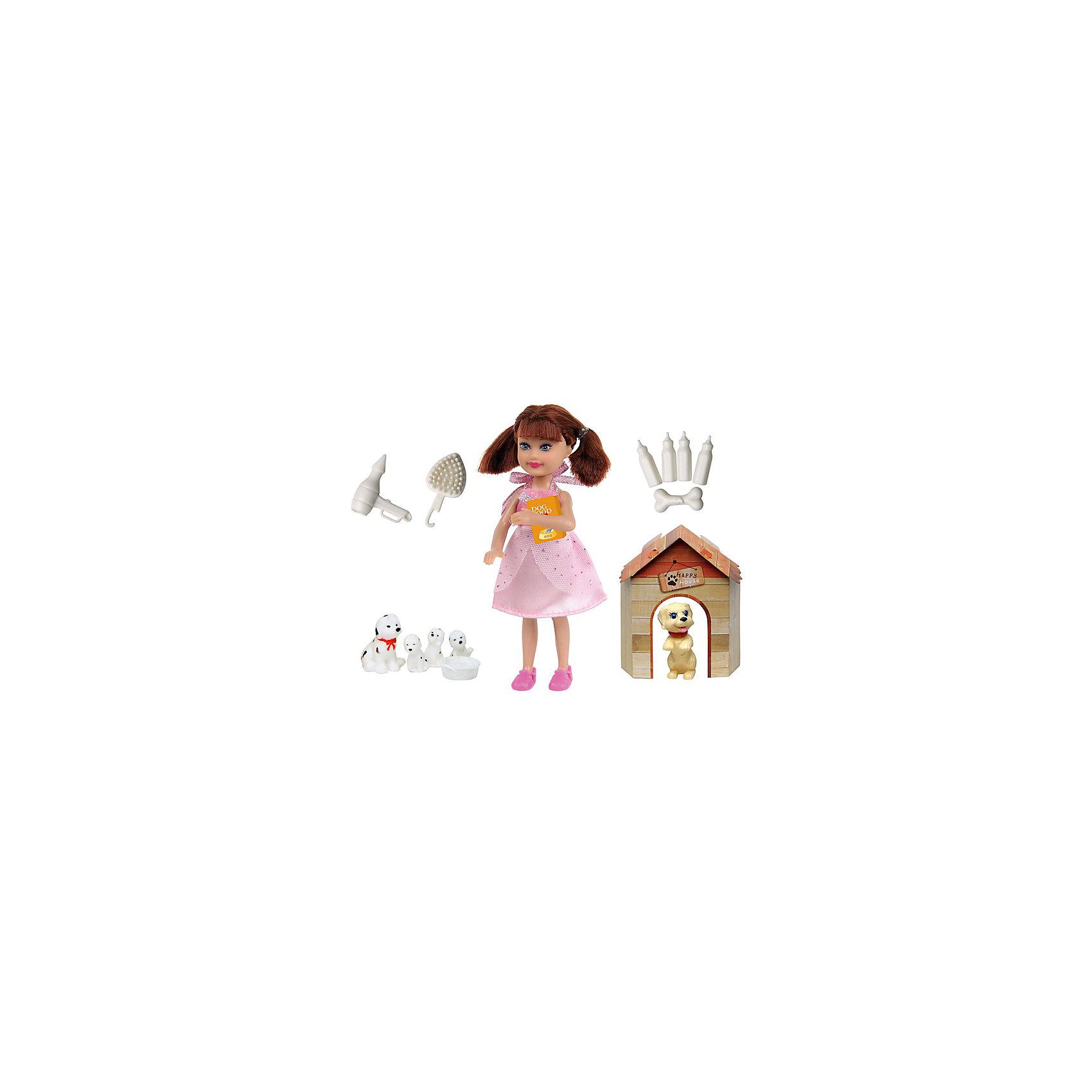 Кукла Любимый питомец, 14 см, Defa LucyКуклы-модели<br>Характеристики товара:<br><br>• возраст от 3 лет;<br>• материал: пластик, текстиль;<br>• в комплекте: кукла, большая собачка, маленькая собачка, 3 щенка, будка, бутылочки, косточка, фен, расчёска, миска, корм для собак;<br>• высота куклы 14 см;<br>• размер упаковки 27,5х17х16 см;<br>• вес упаковки 190 гр.;<br>• страна производитель: Китай.<br><br>Кукла «Любимый питомец» Defa Lucy — озорная девочка, которая любит играть со своими питомцами. Она также заботится о них каждый день, приносит им корм и насыпает в миску. Собачки живут в уютном домике-будке. У куклы мягкие волосы, которые можно расчесывать, украшать и заплетать.<br><br>Куклу «Любимый питомец» Defa Lucy можно приобрести в нашем интернет-магазине.<br><br>Ширина мм: 275<br>Глубина мм: 160<br>Высота мм: 170<br>Вес г: 190<br>Возраст от месяцев: 36<br>Возраст до месяцев: 72<br>Пол: Женский<br>Возраст: Детский<br>SKU: 5581299