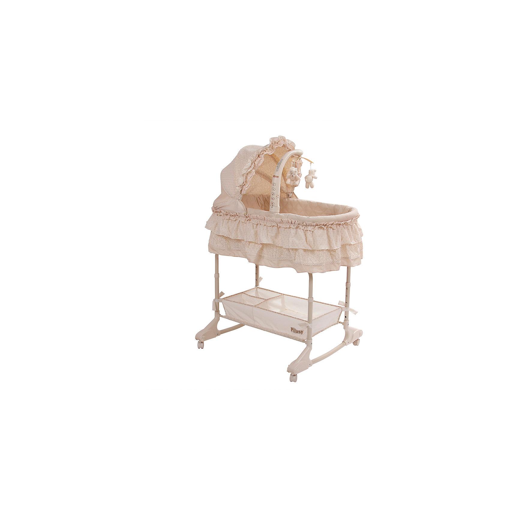 Колыбель-качалка Sambra 4 в 1, Pituso, кремовыйКолыбели-люльки для новорожденных<br>Характеристики товара:<br><br>• возраст: с рождения;<br>• материал: пластик, текстиль;<br>• в комплекте: кровать, музыкальный мобиль, корзинка для вещей, матрас;<br>• тип батареек: батарейки АА;<br>• наличие батареек: в комплект не входят;<br>• размер кровати: 115х88х73 см;<br>• вес кровати: 9,8 кг;<br>• страна производитель: Китай.<br><br>Колыбель-качалка Pituso Sambra 4 в 1 кремовая станет уютным местом для сна для малыша с первых дней жизни. Колеса со стопорами облегчают перемещение по квартире. Если снять колеса, то кроватка может использоваться как качалка для укачивания крохи. Высота регулируется в 5 положениях. Кроватка легко трансформируется в пеленальный столик<br><br>Кроватка оснащена музыкальным мобилем с подвесными игрушками. Вибрация и музыкальные композиции помогут убаюкать малыша. А ночью можно включить подсветку и огоньки. Внизу расположена большая корзинка для вещей, игрушек, подгузников, полотенец.<br><br>Колыбель-качалку Pituso Sambra 4 в 1 кремовую можно приобрести в нашем интернет-магазине.<br><br>Ширина мм: 880<br>Глубина мм: 490<br>Высота мм: 130<br>Вес г: 9500<br>Возраст от месяцев: 0<br>Возраст до месяцев: 36<br>Пол: Унисекс<br>Возраст: Детский<br>SKU: 5582057