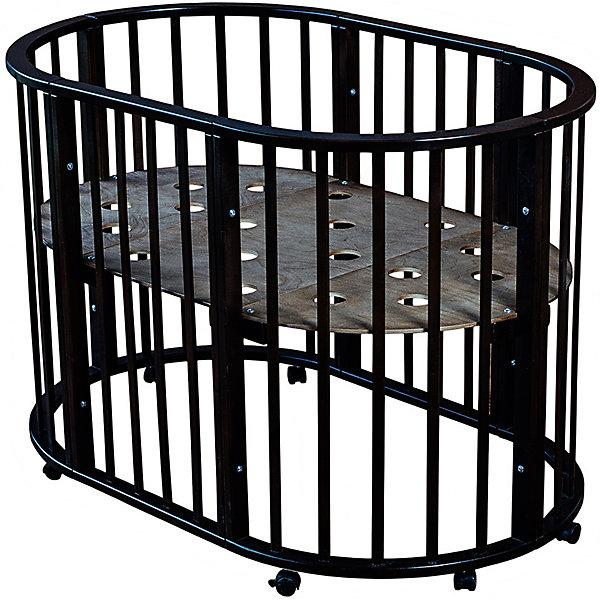 Кроватка овальная Николь Мой Малыш, темныйДетские кроватки<br>Характеристики товара:<br><br>• возраст: с рождения;<br>• материал: дерево;<br>• размер овальной кровати: 136х85х91 см;<br>• размер круглой кровати: 86х86х91 см;<br>• спальное место овальной кровати: 125х75 см;<br>• спальное место круглой кровати: 75х75 см;<br>• вес: 23 кг;<br>• страна производитель: Россия.<br><br>Кроватка овальная «Николь» Мой Малыш темная превращается в круглую кровать путем снятия двух боковых заграждений. Дно устанавливается на 3 разных уровнях высоты. 8 колес со стопорами облегчают перемещение по комнате. Кровать выполнена из натурального дерева и хорошо отшлифована.<br><br>Кроватку овальную «Николь» Мой Малыш темную можно приобрести в нашем интернет-магазине.<br>Ширина мм: 1230; Глубина мм: 970; Высота мм: 235; Вес г: 23000; Возраст от месяцев: 0; Возраст до месяцев: 36; Пол: Унисекс; Возраст: Детский; SKU: 5582063;