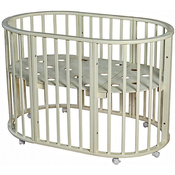 Кроватка овальная Николь Мой Малыш, слоновая костьДетские кроватки<br>Характеристики товара:<br><br>• возраст: с рождения;<br>• материал: дерево;<br>• размер овальной кровати: 136х85х91 см;<br>• размер круглой кровати: 86х86х91 см;<br>• спальное место овальной кровати: 125х75 см;<br>• спальное место круглой кровати: 75х75 см;<br>• вес: 23 кг;<br>• страна производитель: Россия.<br><br>Кроватка овальная «Николь» Мой Малыш слоновая кость превращается в круглую кровать путем снятия двух боковых заграждений. Дно устанавливается на 3 разных уровнях высоты. 8 колес со стопорами облегчают перемещение по комнате. Кровать выполнена из натурального дерева и хорошо отшлифована.<br><br>Кроватку овальную «Николь» Мой Малыш слоновая кость можно приобрести в нашем интернет-магазине.<br>Ширина мм: 1230; Глубина мм: 970; Высота мм: 235; Вес г: 23000; Возраст от месяцев: 0; Возраст до месяцев: 36; Пол: Унисекс; Возраст: Детский; SKU: 5582064;